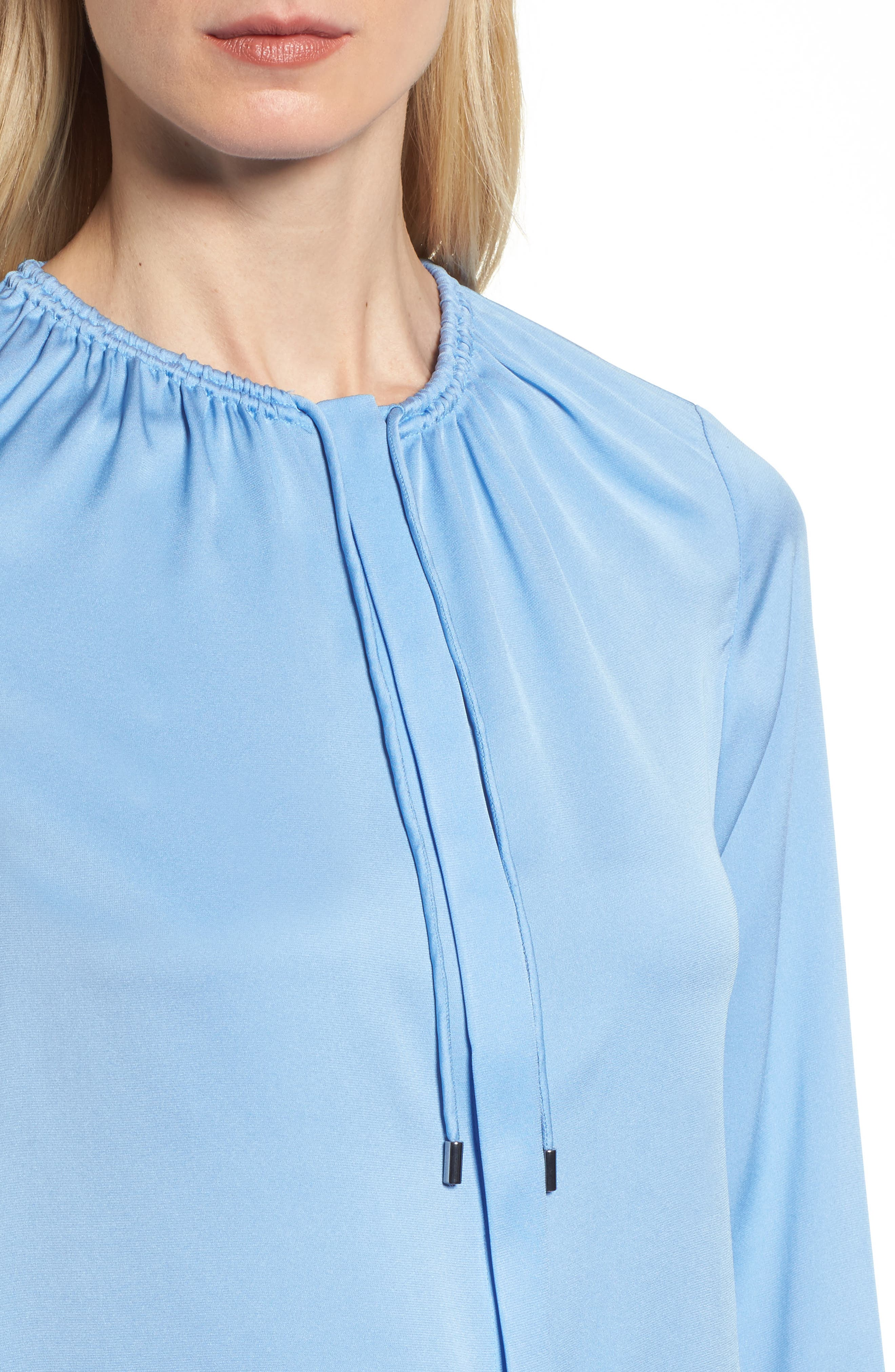 Banorana Stretch Silk Blouse,                             Alternate thumbnail 4, color,                             Blue Sky
