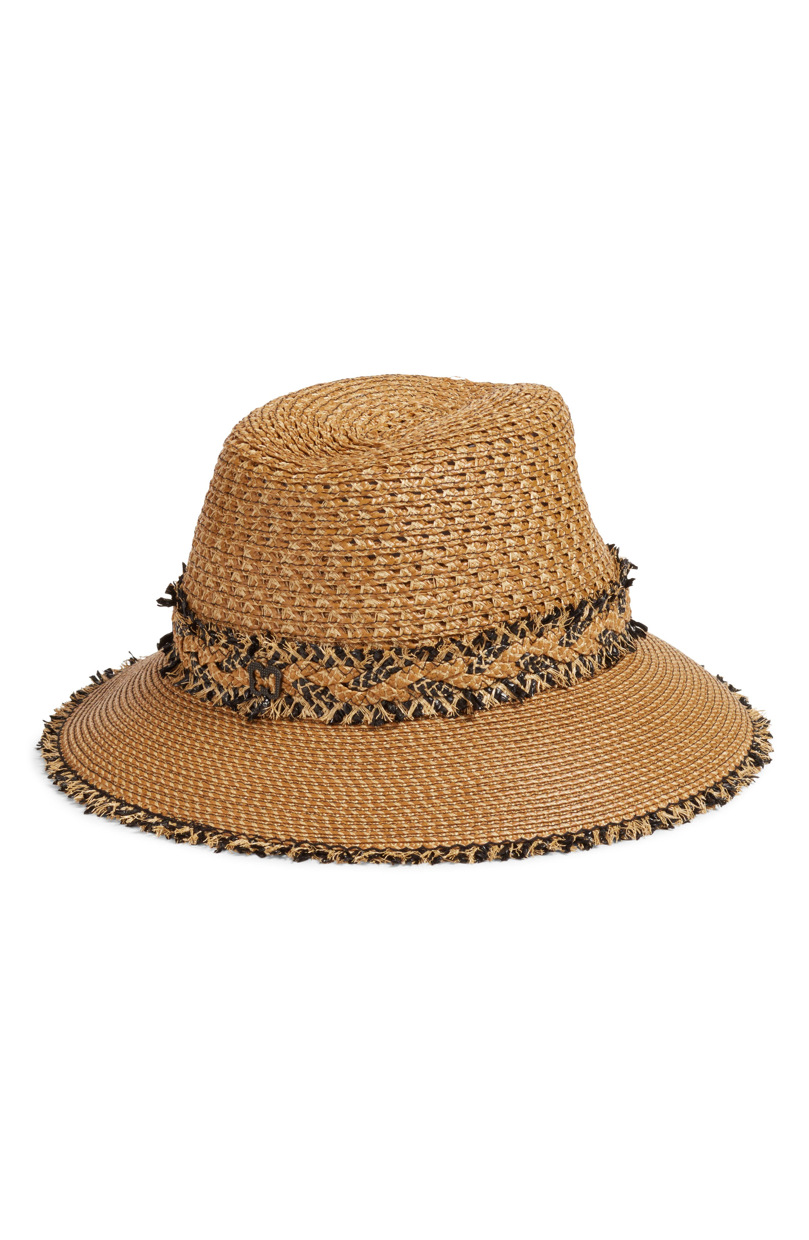 Lulu Squishee<sup>®</sup> Straw Hat,                             Alternate thumbnail 2, color,                             Natural/ Black Mix