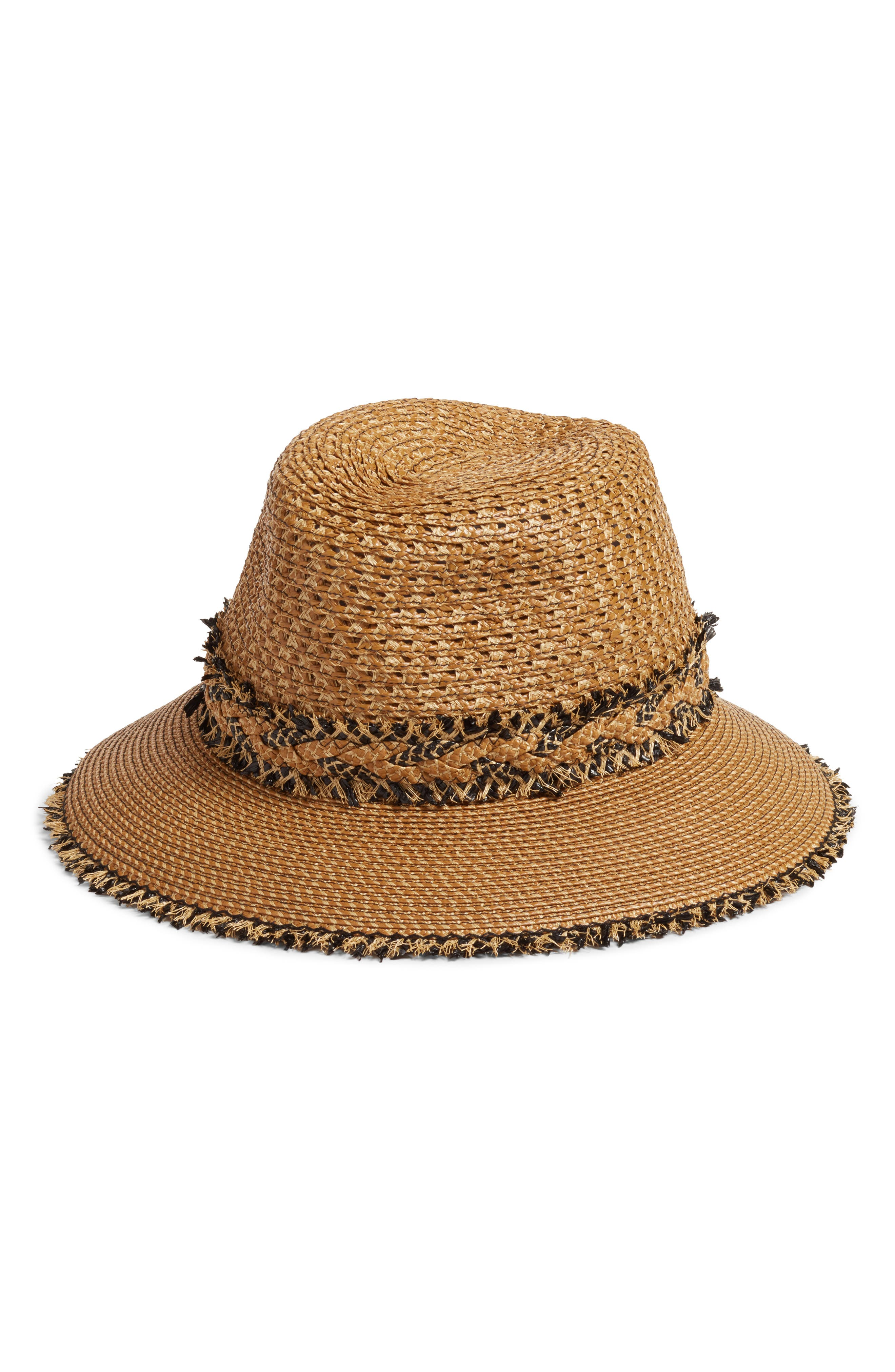 Lulu Squishee<sup>®</sup> Straw Hat,                             Main thumbnail 1, color,                             Natural/ Black Mix