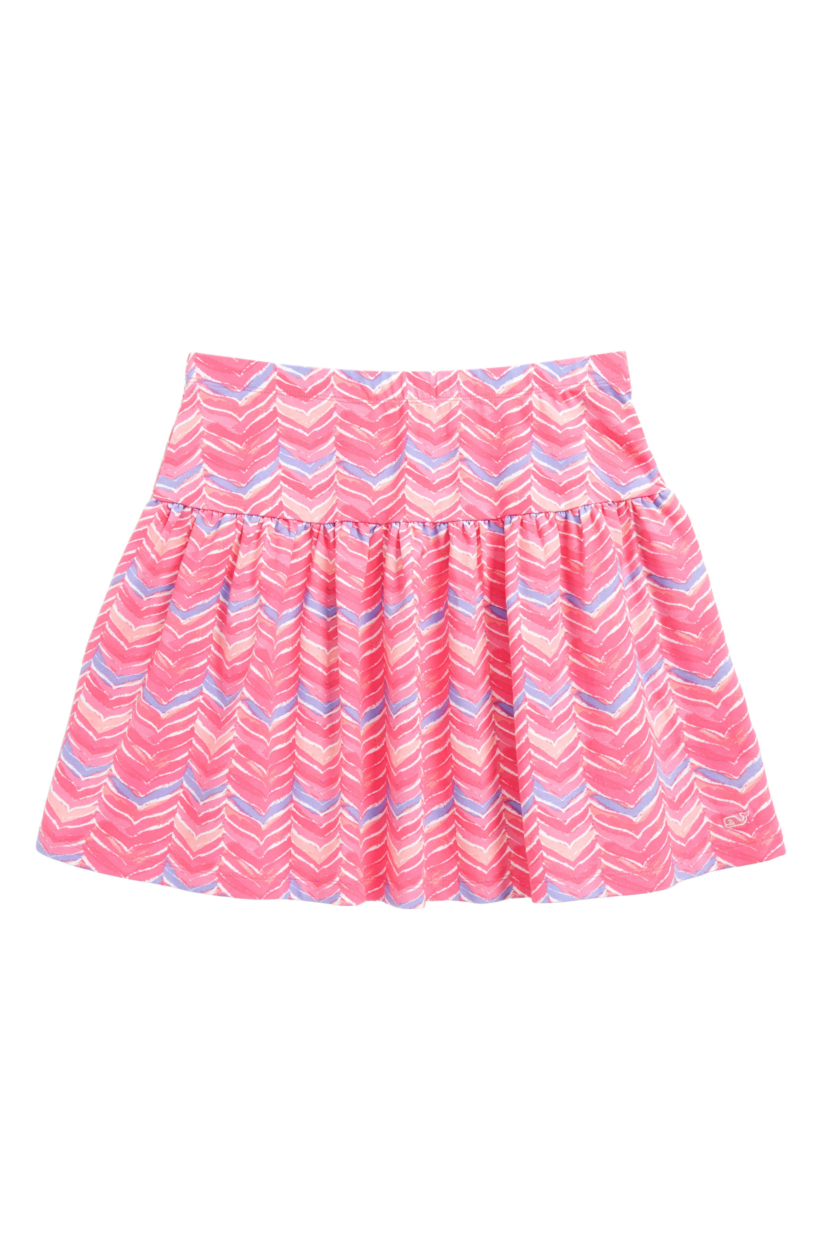 Watercolor Whale Tail Print Skirt,                             Main thumbnail 1, color,                             Pink Sherbet