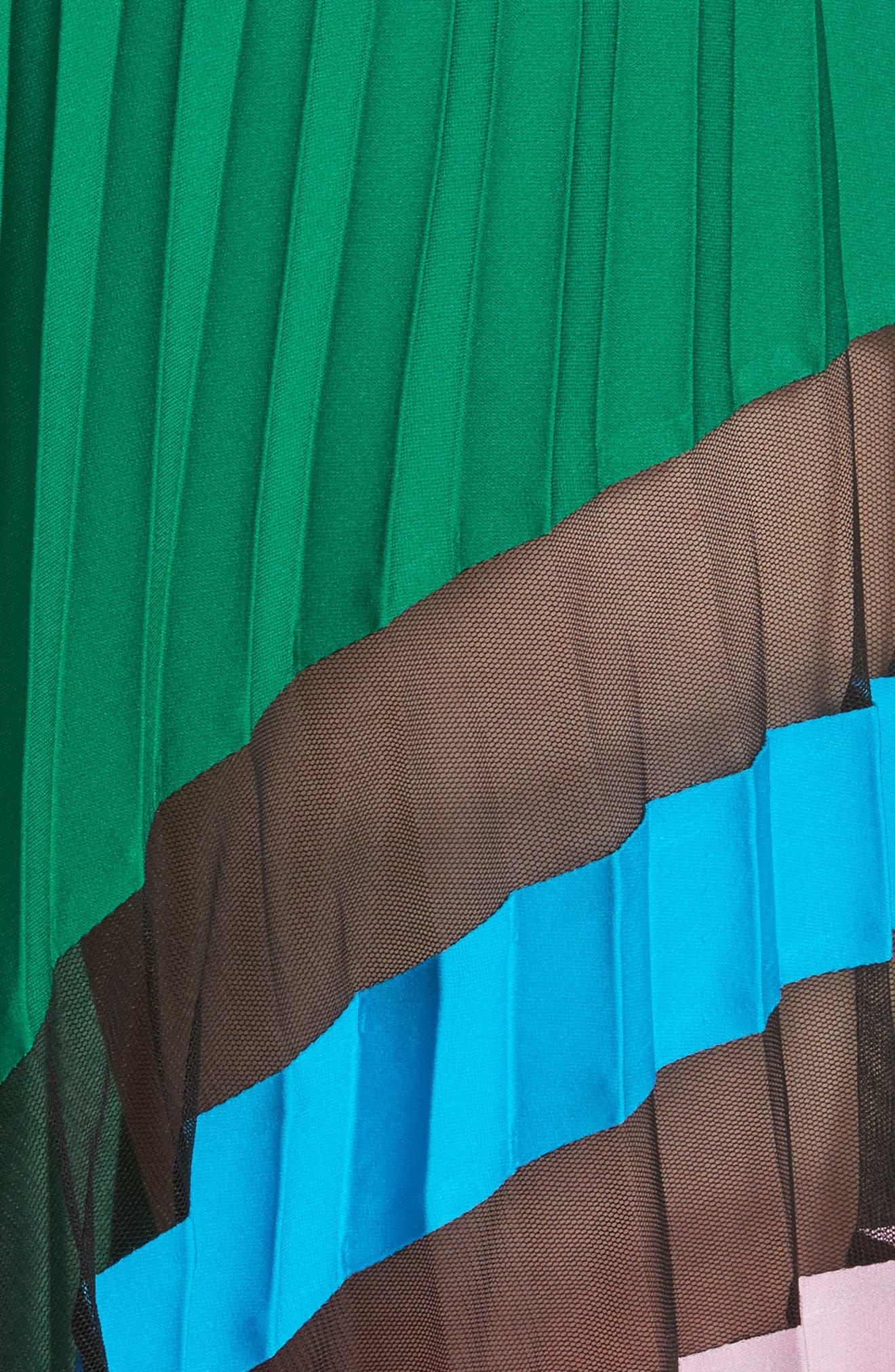 Pleated Maxi Skirt,                             Alternate thumbnail 5, color,                             Emerald Multi