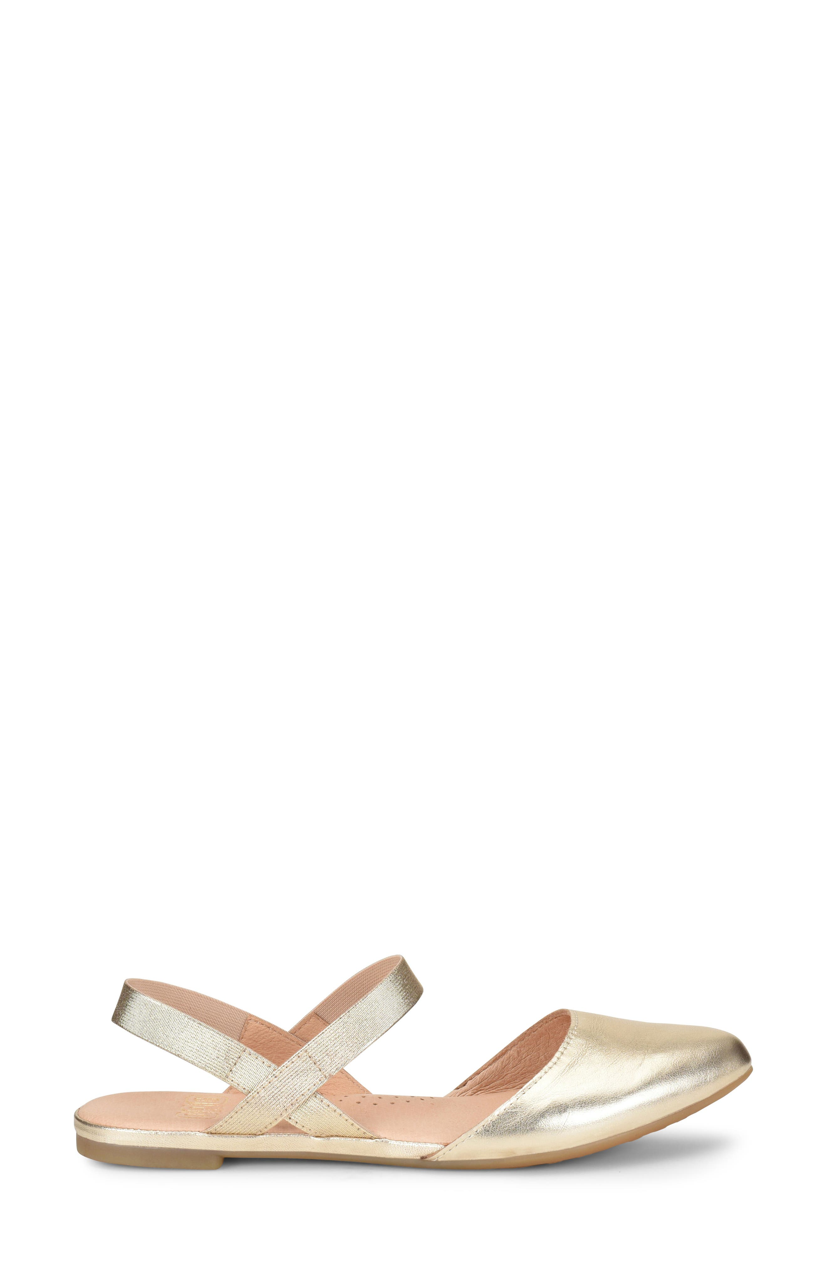 Free Ankle Strap Flat,                             Alternate thumbnail 3, color,                             Gold Metallic Leather