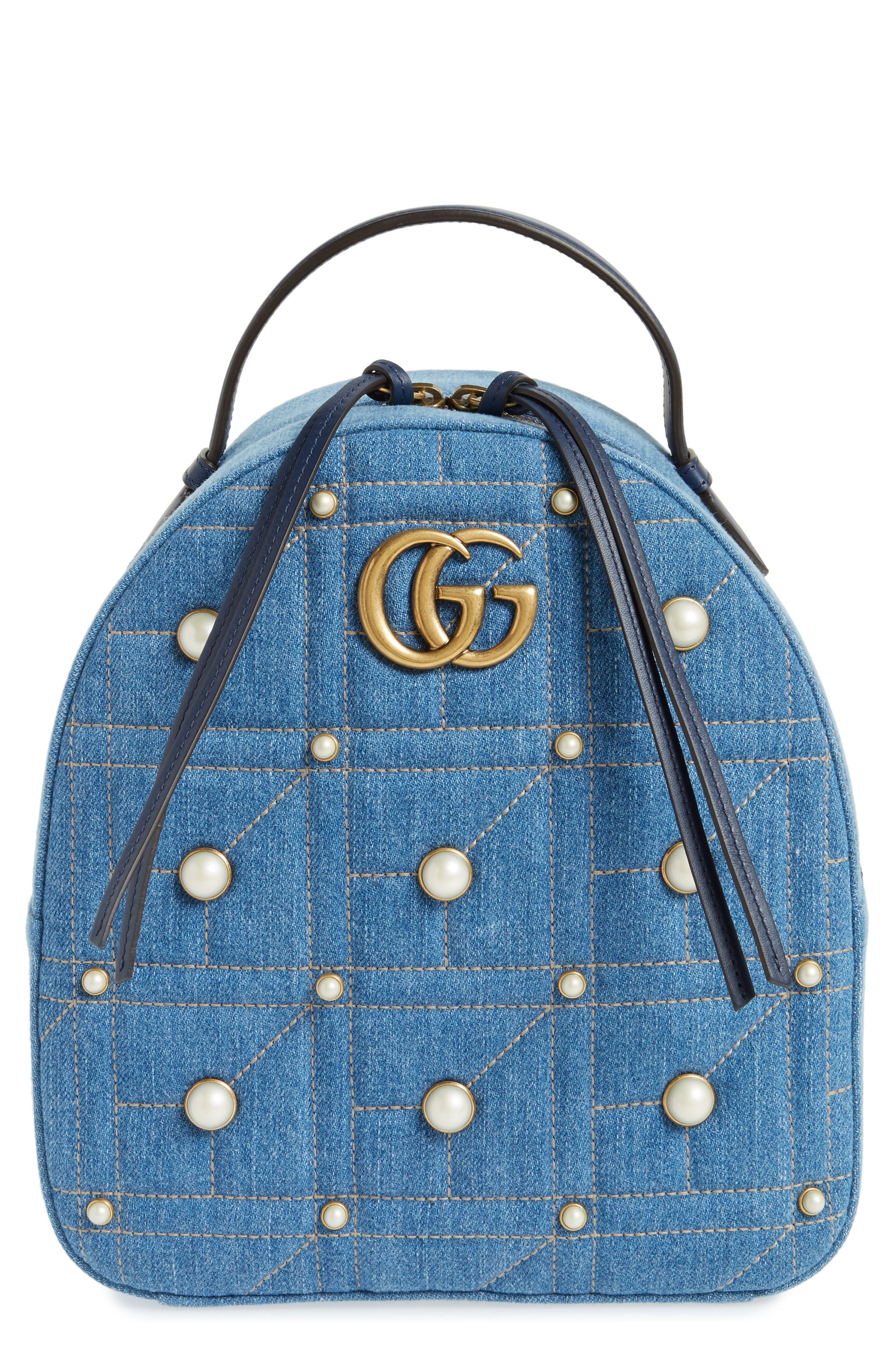 GG Marmont 2.0 Imitation Pearl Embellished Denim Backpack,                             Main thumbnail 1, color,                             Denim Blue