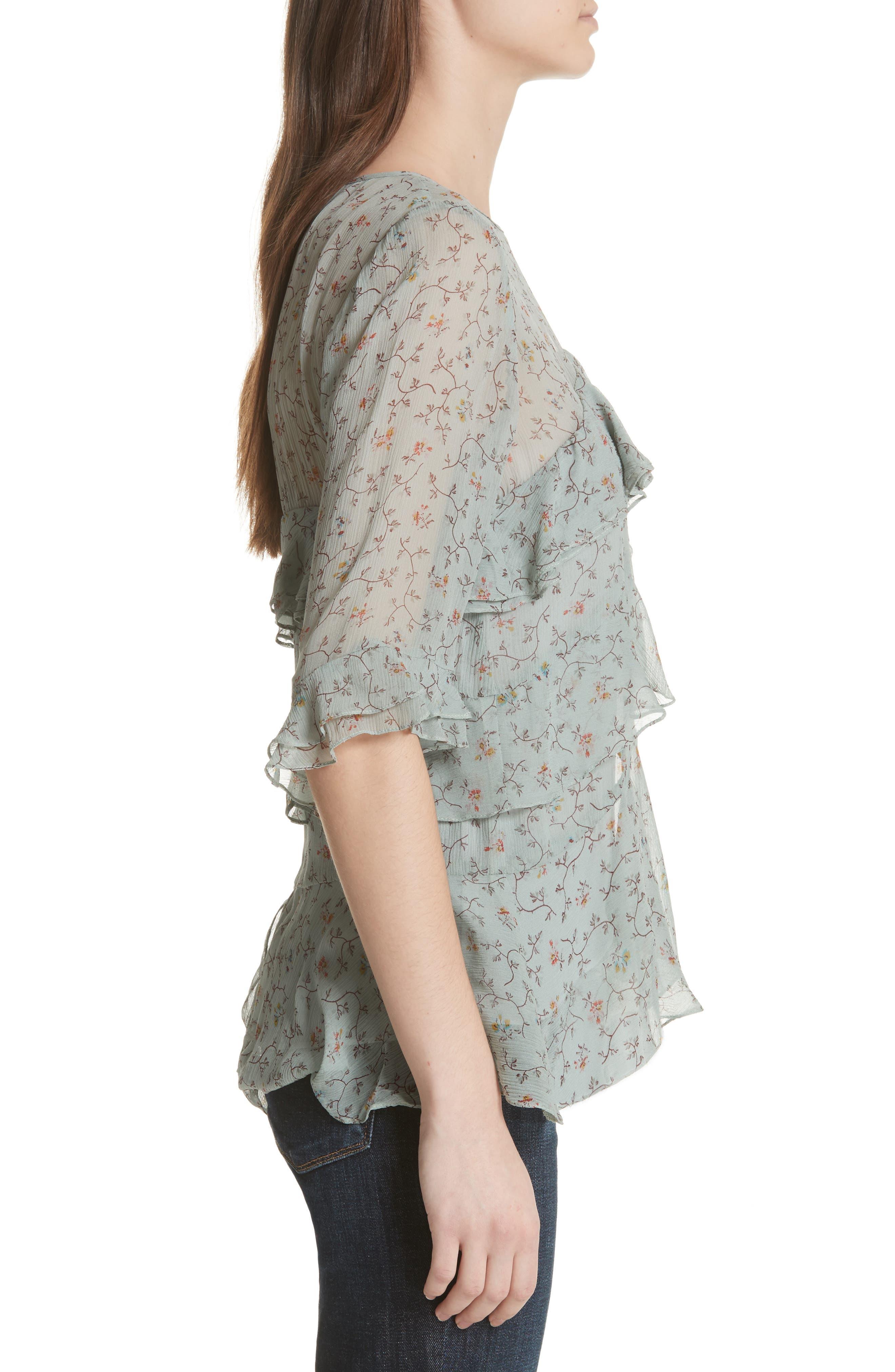Alternate Image 3  - Rebecca Taylor Vine Ruffle Silk Top
