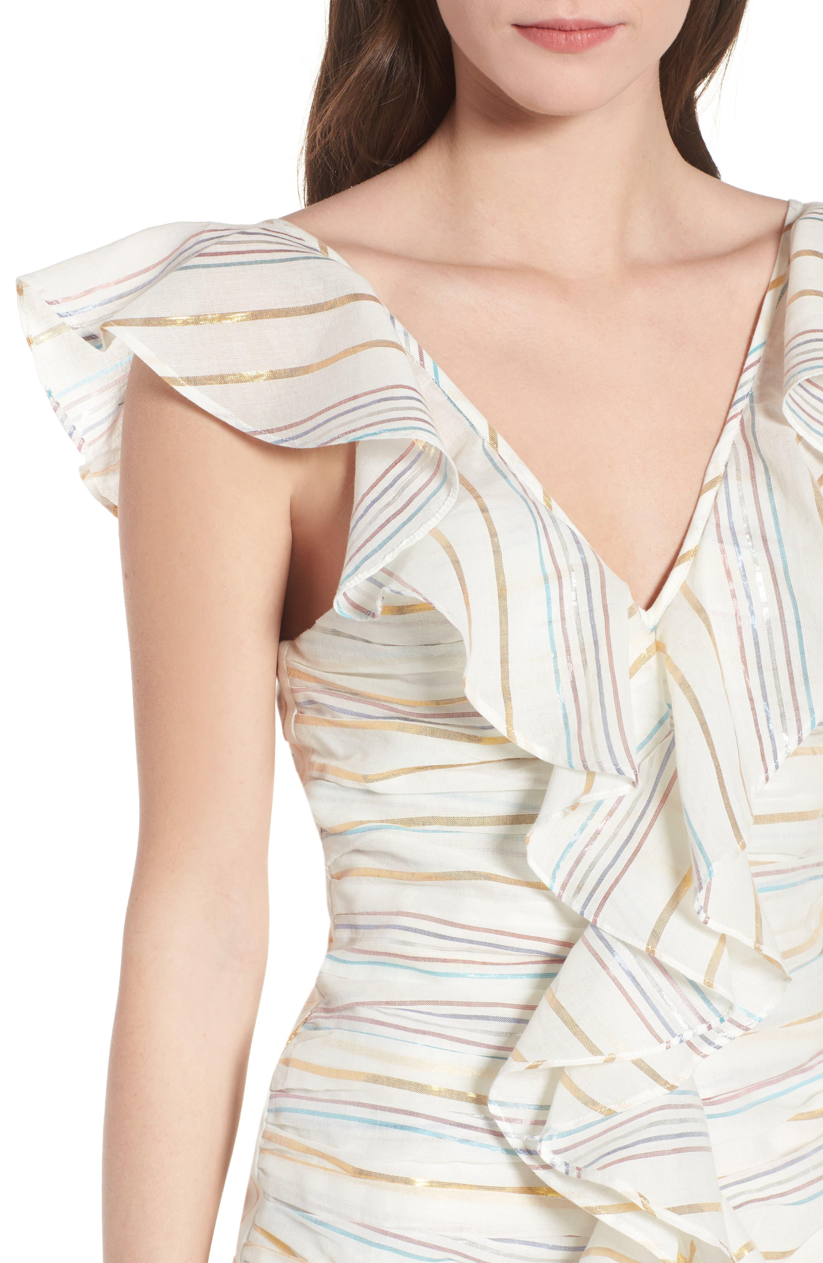 Brittany Ruffle Dress,                             Alternate thumbnail 4, color,                             Marshmallow