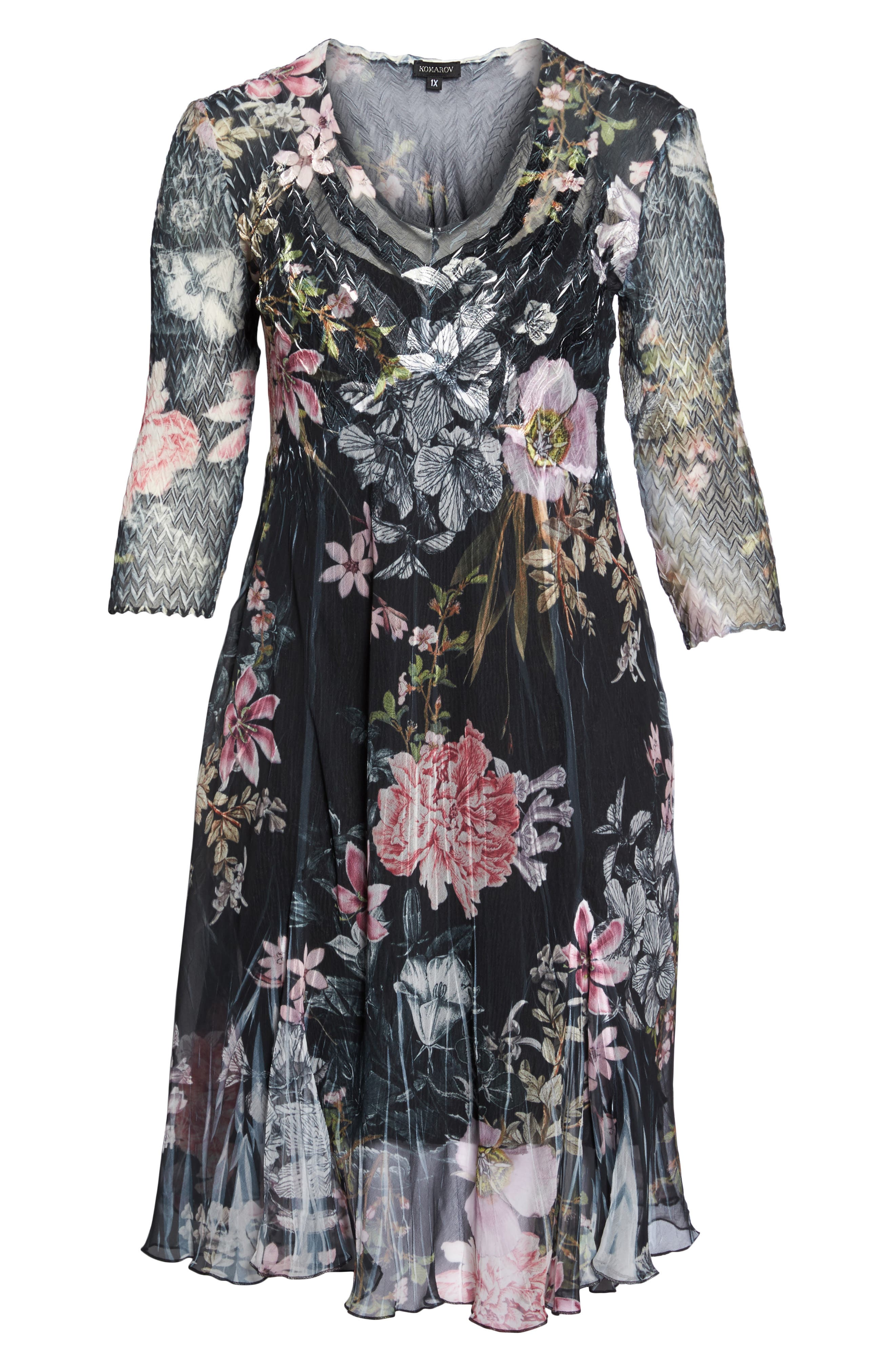 Kamarov Floral Charmeuse & Chiffon Floral A-Line Dress,                             Alternate thumbnail 7, color,                             Moon Flower
