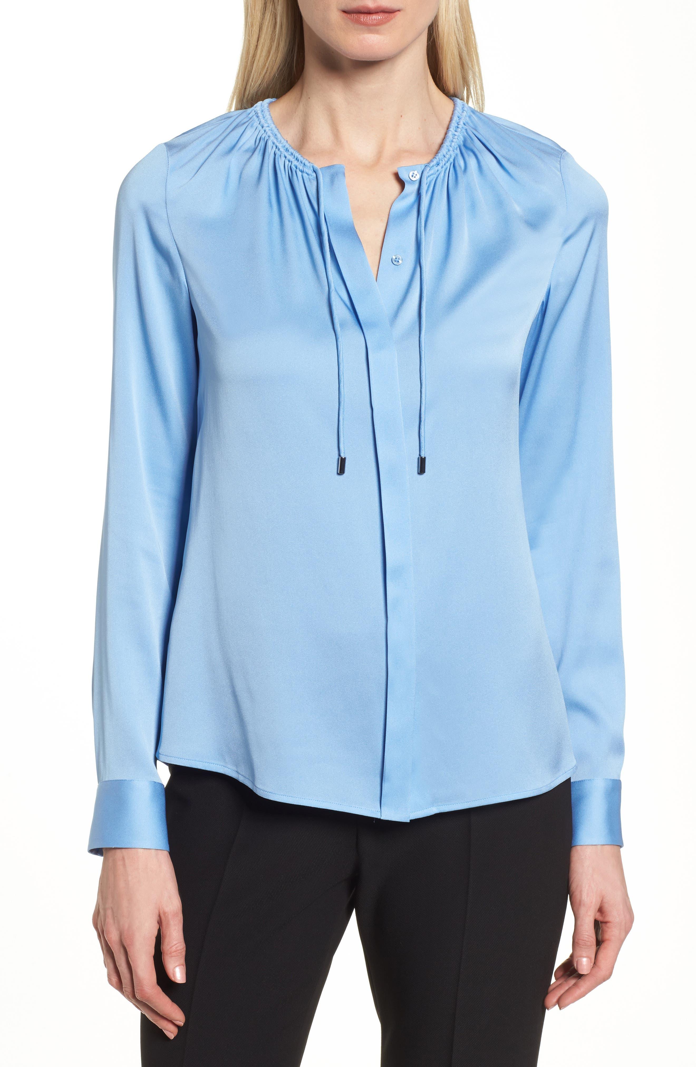Banorana Stretch Silk Blouse,                         Main,                         color, Blue Sky