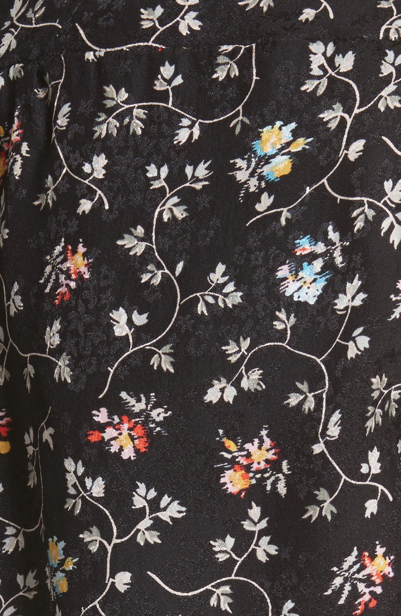 Vine Band Collar Silk Top,                             Alternate thumbnail 5, color,                             Black
