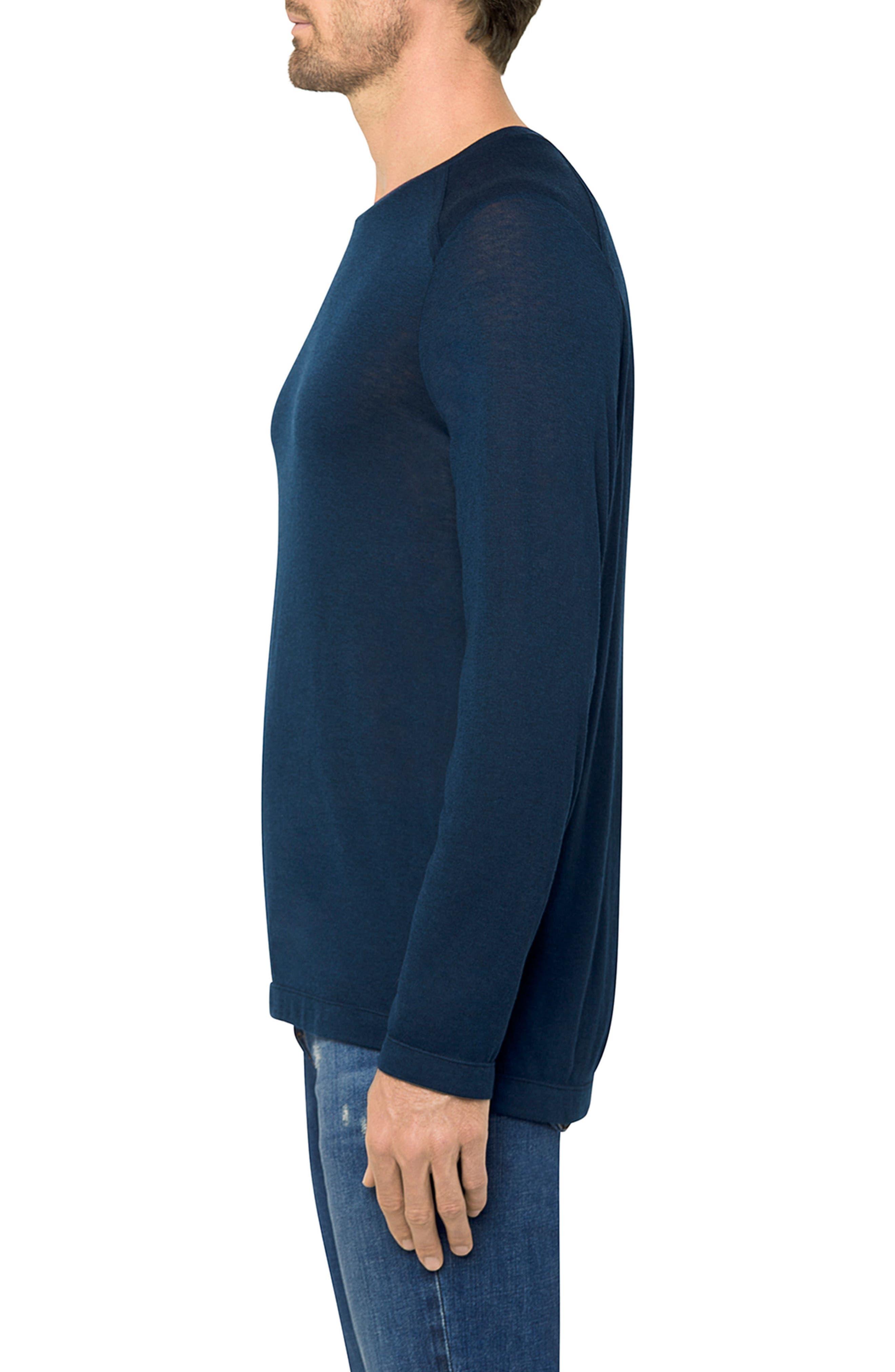 Grandpa Long Sleeve Linen T-Shirt,                             Alternate thumbnail 3, color,                             Navy