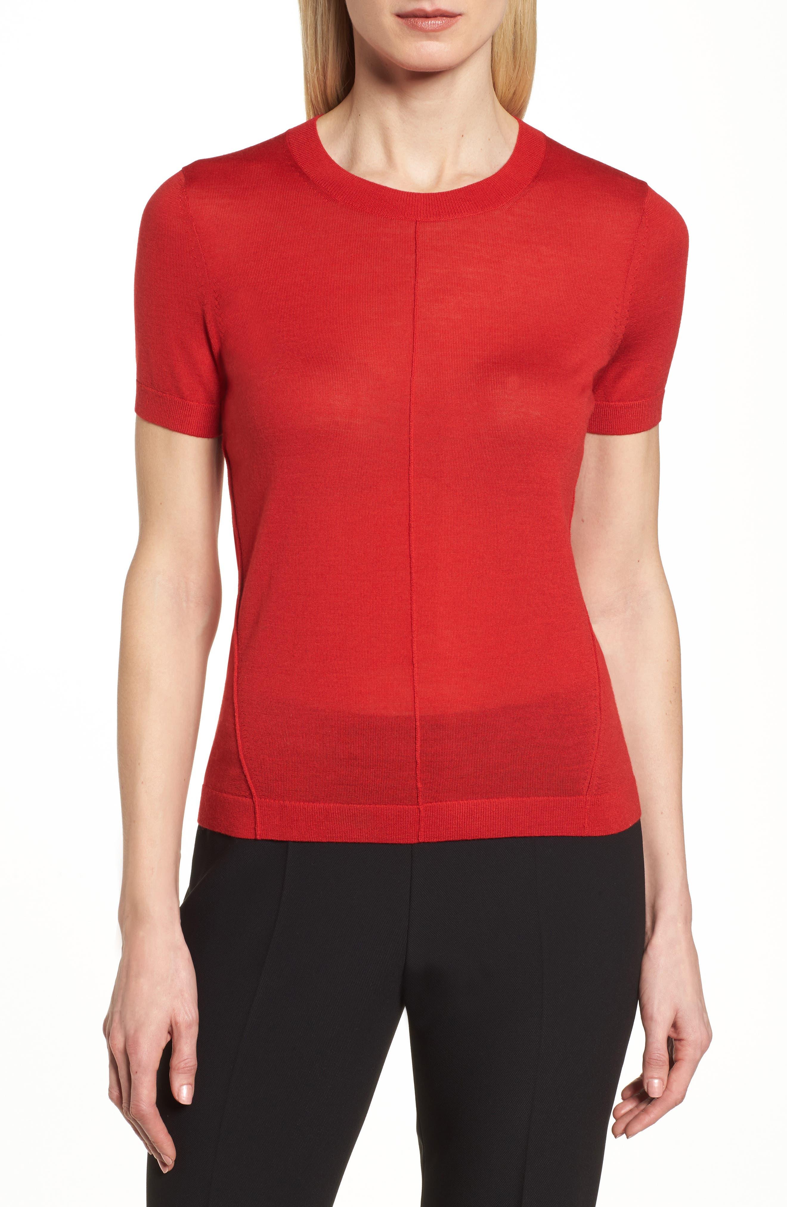 Fuyuka Wool Sweater,                         Main,                         color, Crimson Red
