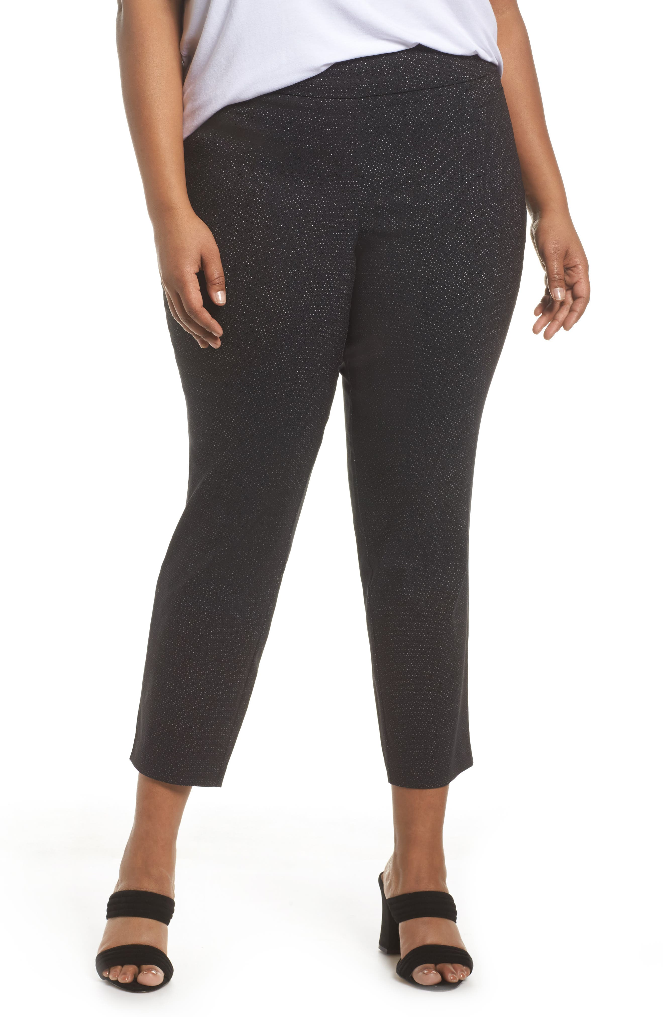 Alternate Image 1 Selected - Sejour Textured Stretch Crop Pants (Plus Size)