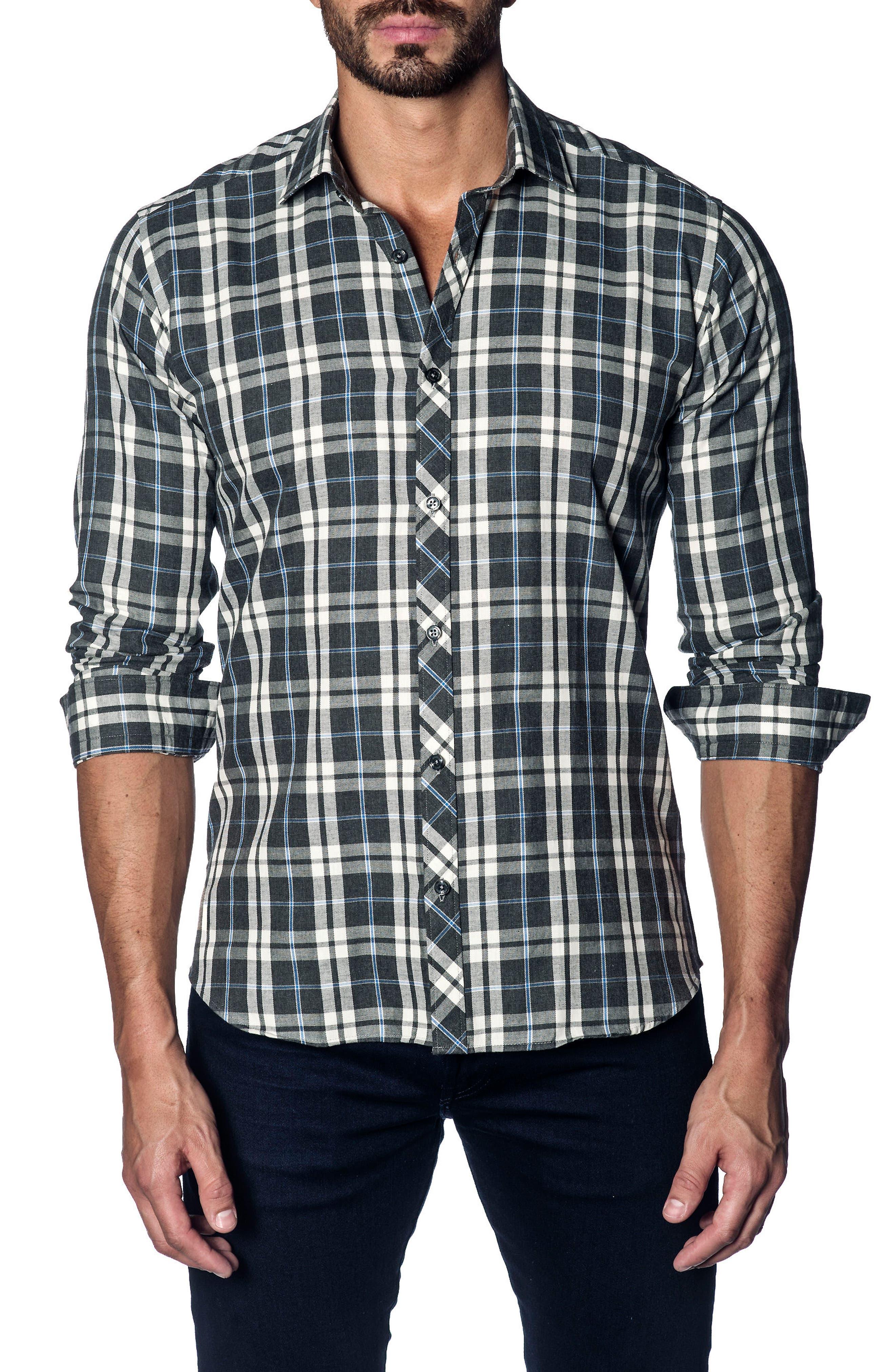 Slim Fit Plaid Sport Shirt,                         Main,                         color, Grey White Plaid