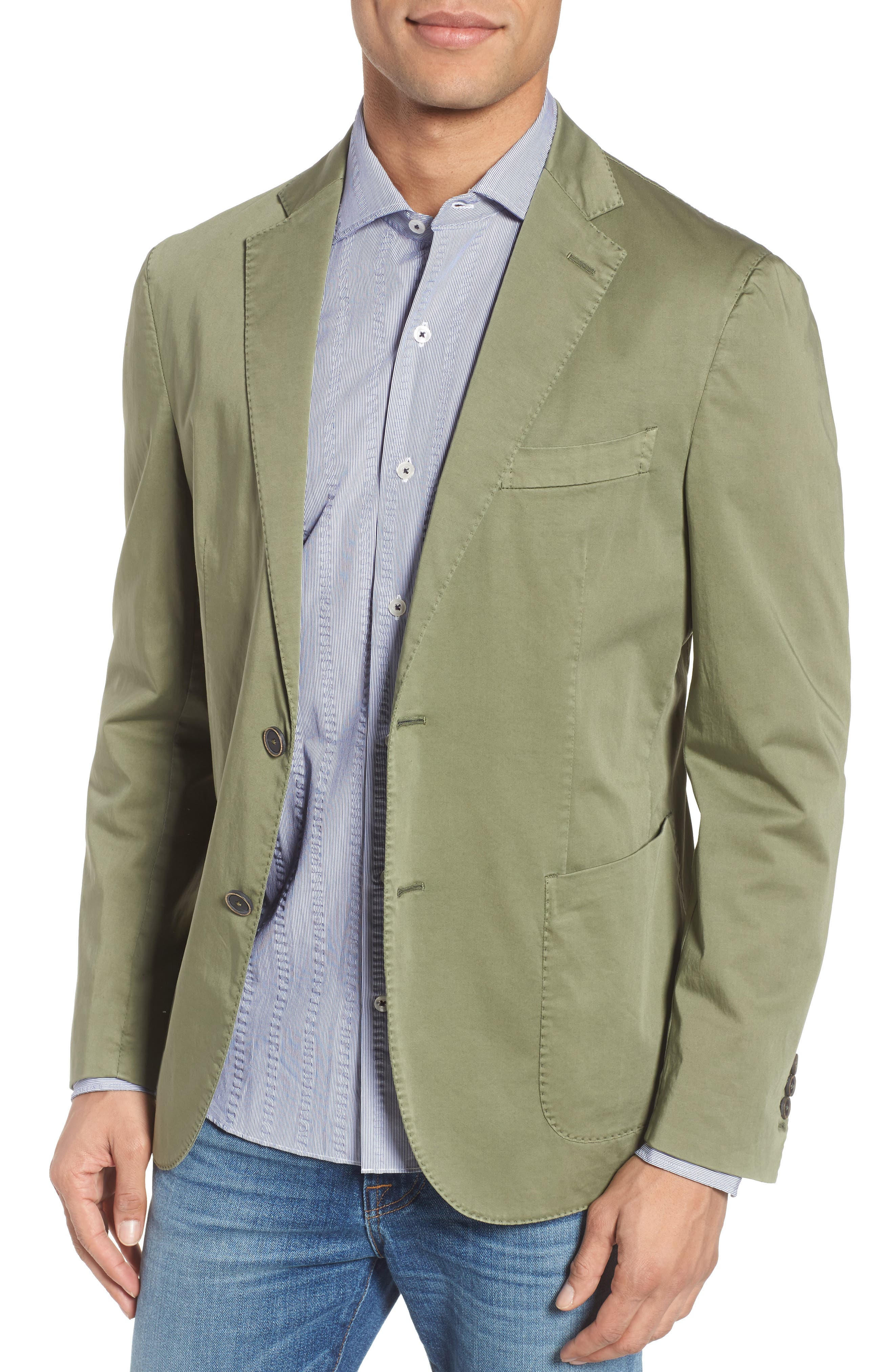 Trim Fit Stretch Cotton Blazer,                             Main thumbnail 1, color,                             Medium Green