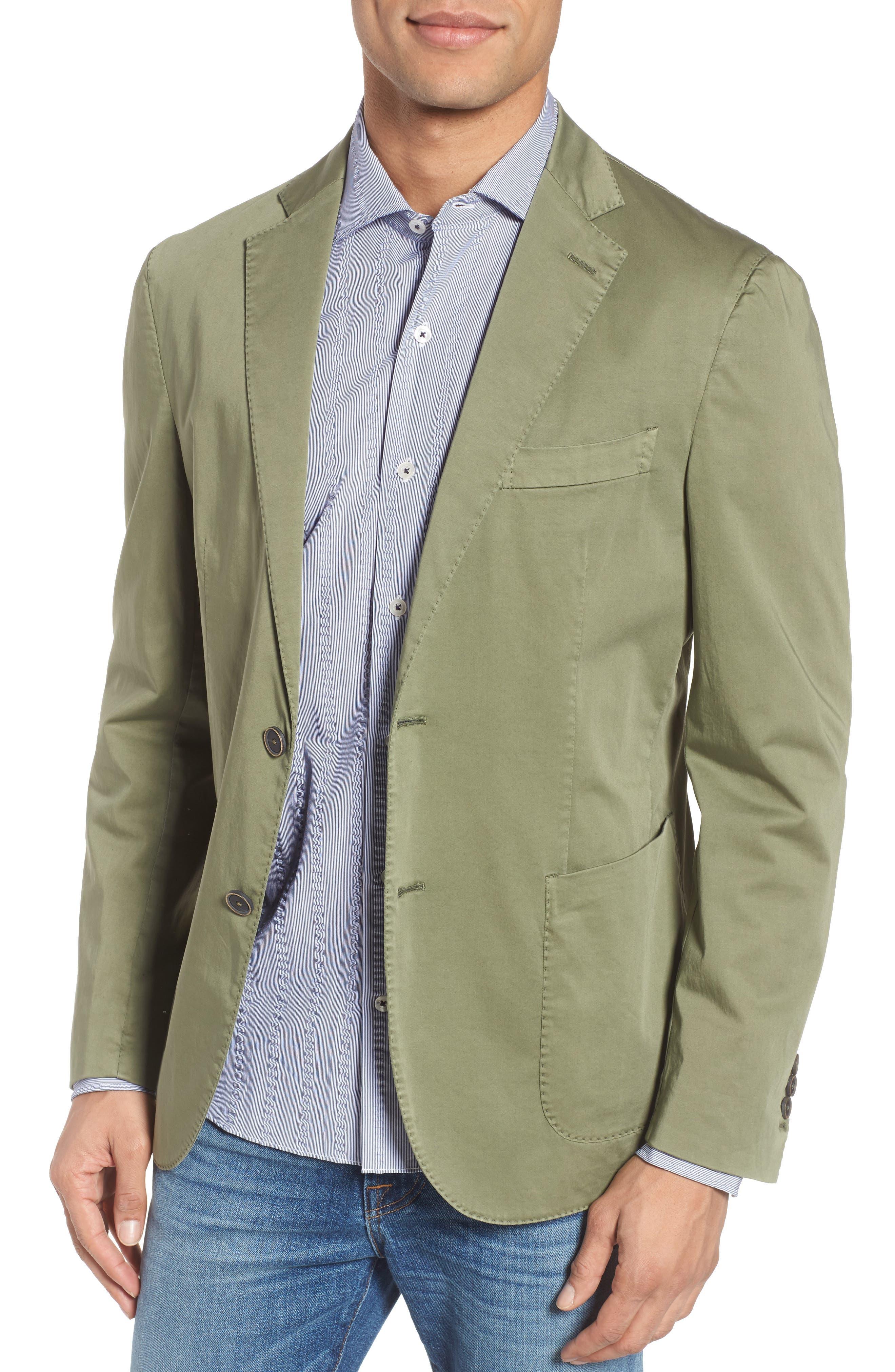 Trim Fit Stretch Cotton Blazer,                         Main,                         color, Medium Green