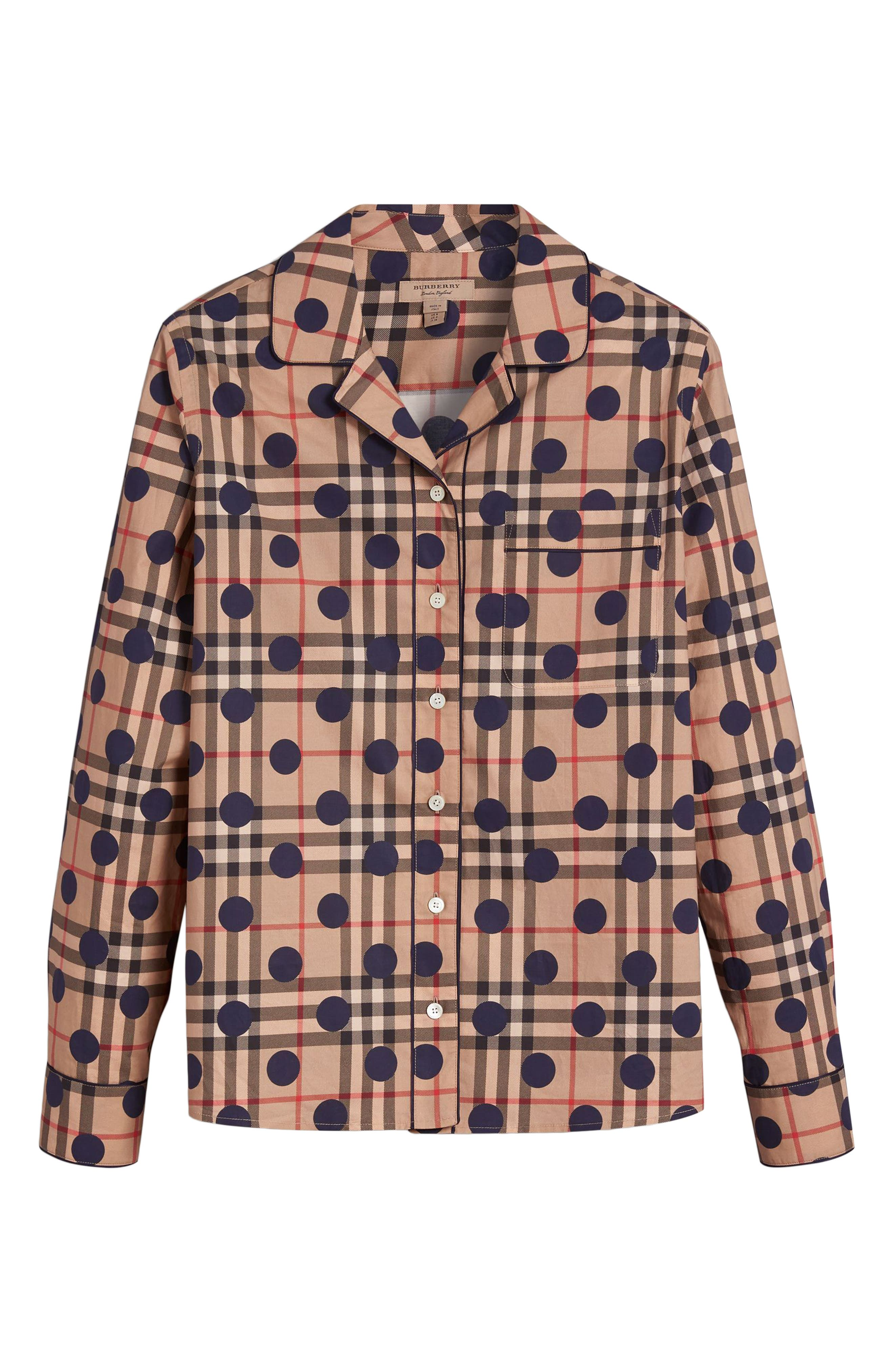 Polka Dot Check Print Cotton Shirt,                             Alternate thumbnail 7, color,                             Camel Multi