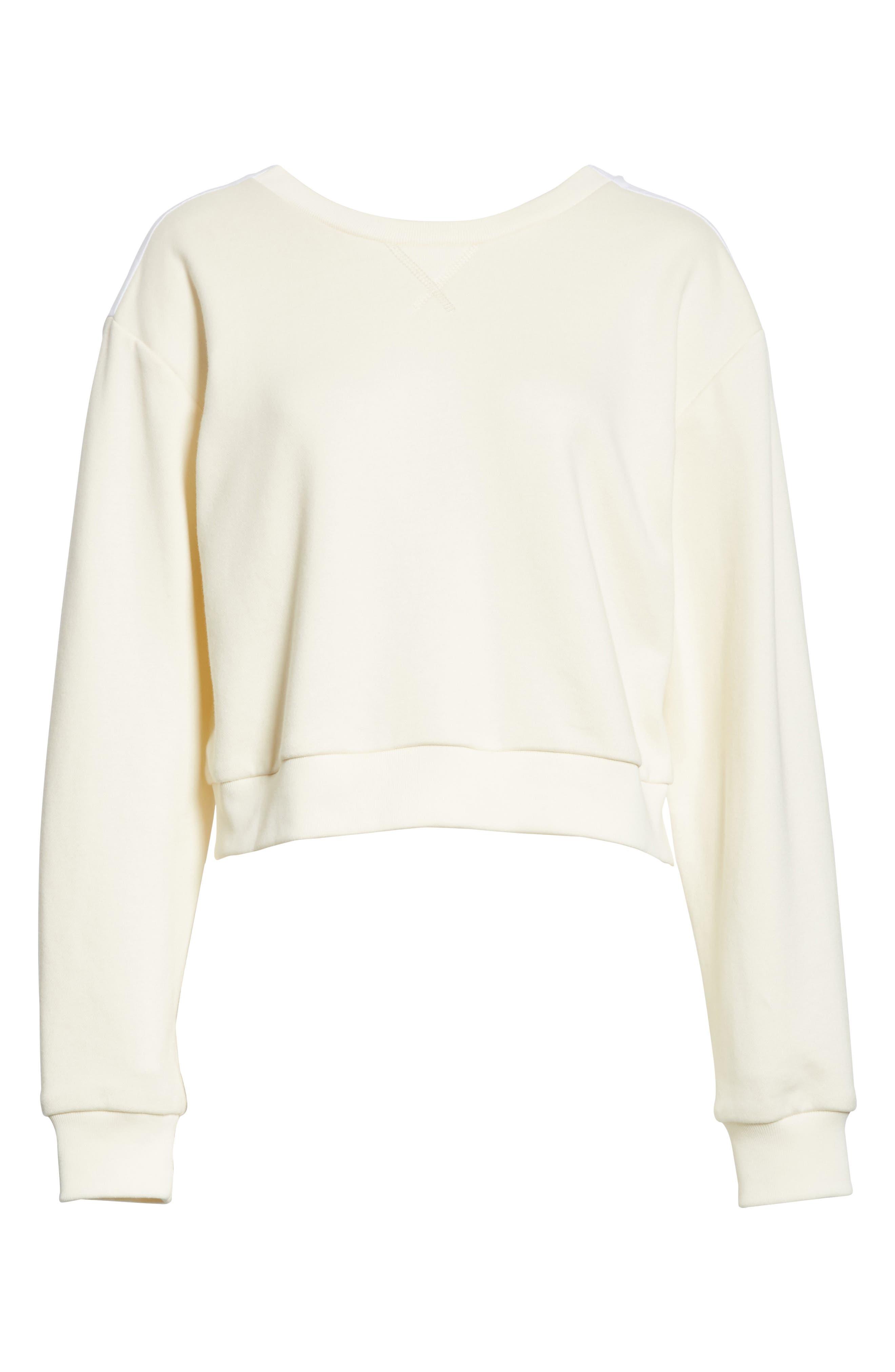 Tie Back Crop Sweatshirt,                             Alternate thumbnail 6, color,                             Ecru