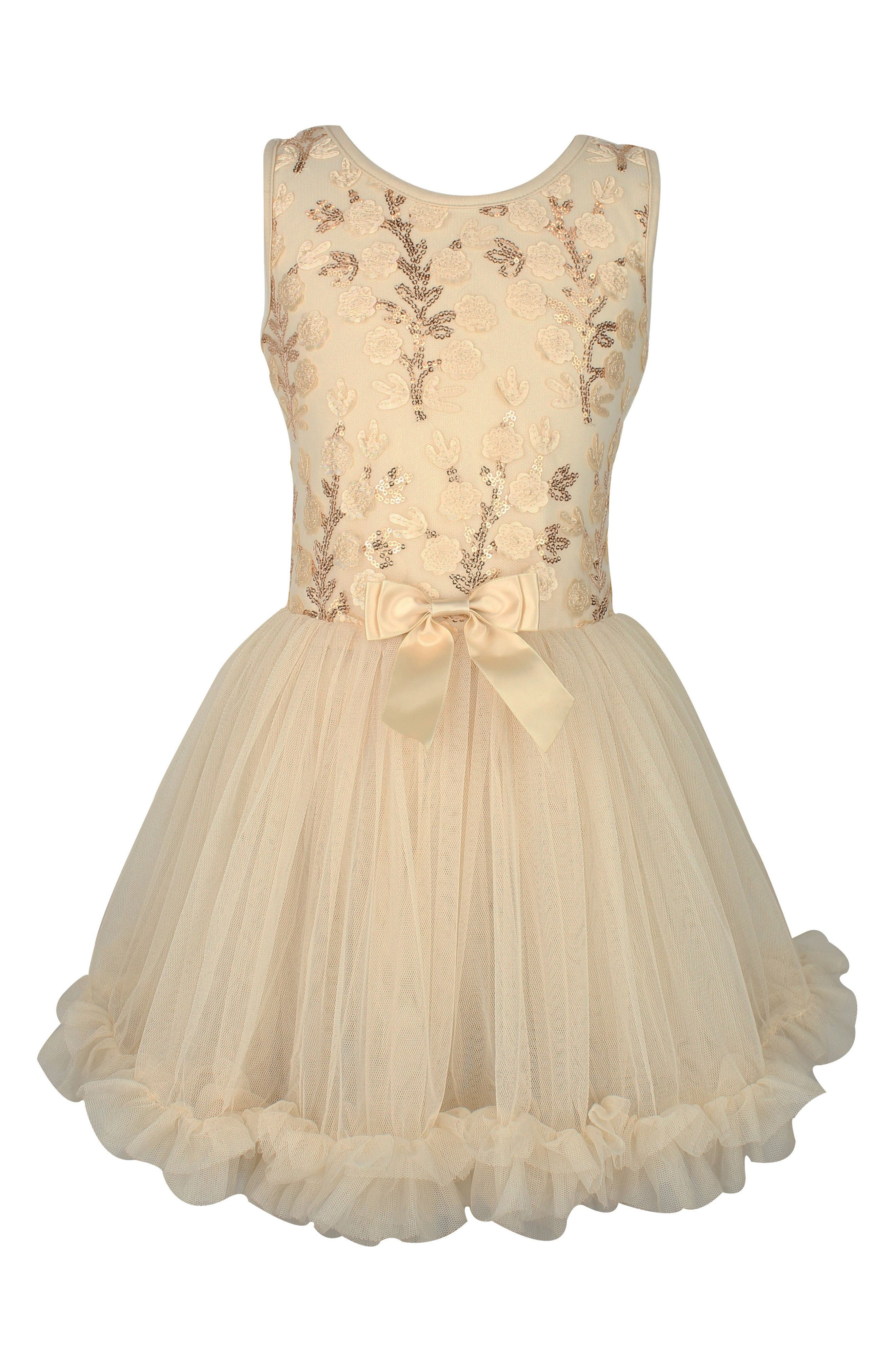 Flower Sequin Dress,                         Main,                         color, Ivory