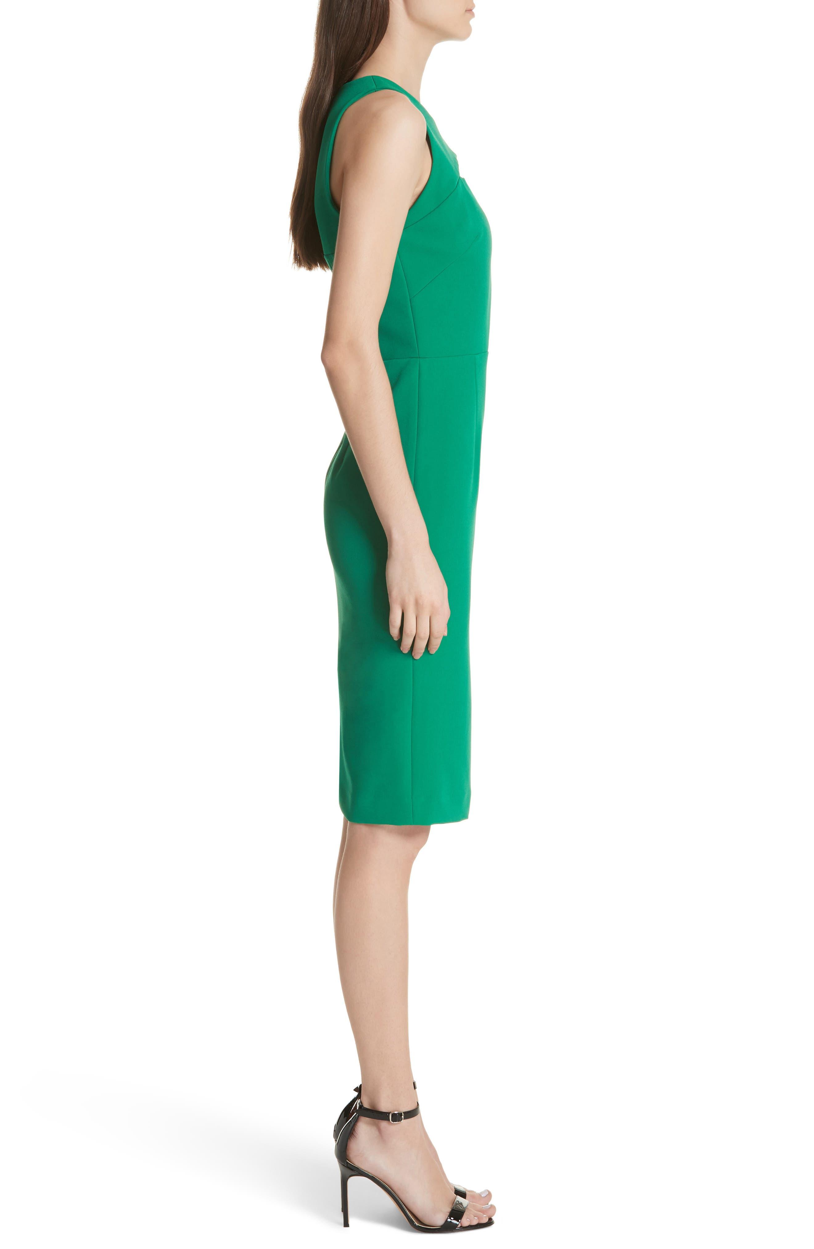 Luna Cutout Detail Crepe Sheath Dress,                             Alternate thumbnail 3, color,                             Emerald
