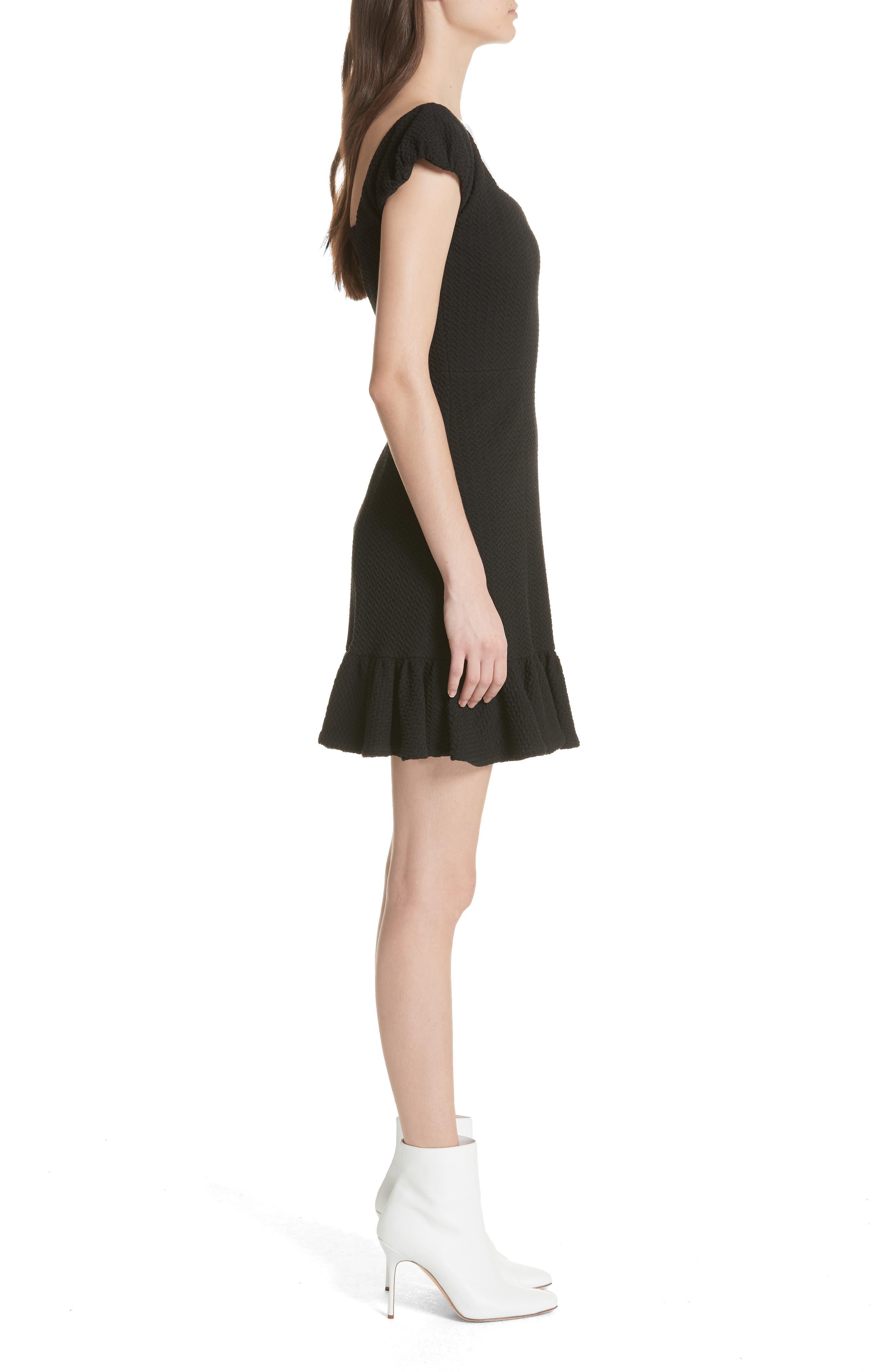 Cap Sleeve Ruffle Hem Dress,                             Alternate thumbnail 3, color,                             Black