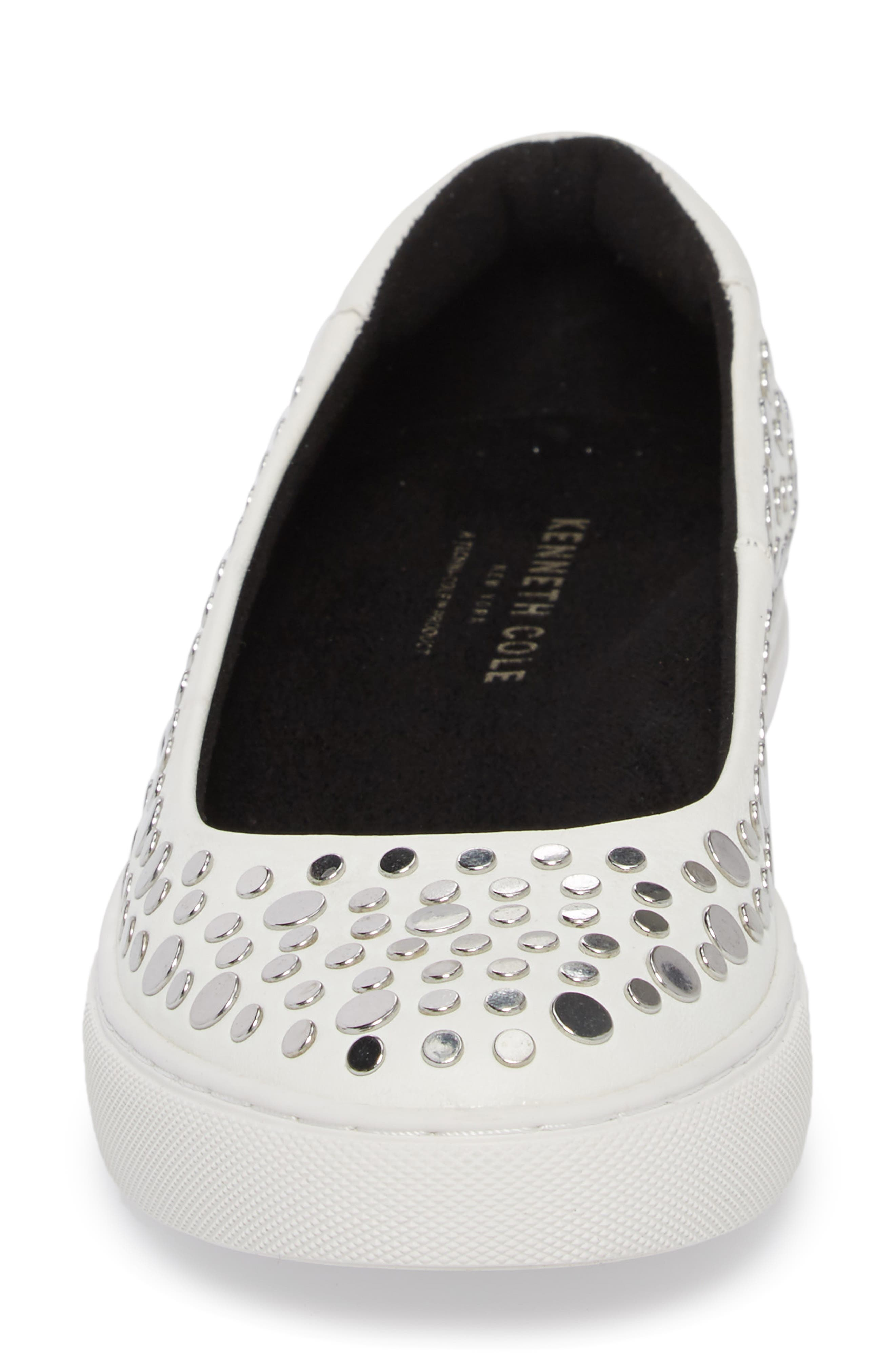 Kassie Studded Flat,                             Alternate thumbnail 4, color,                             White Leather