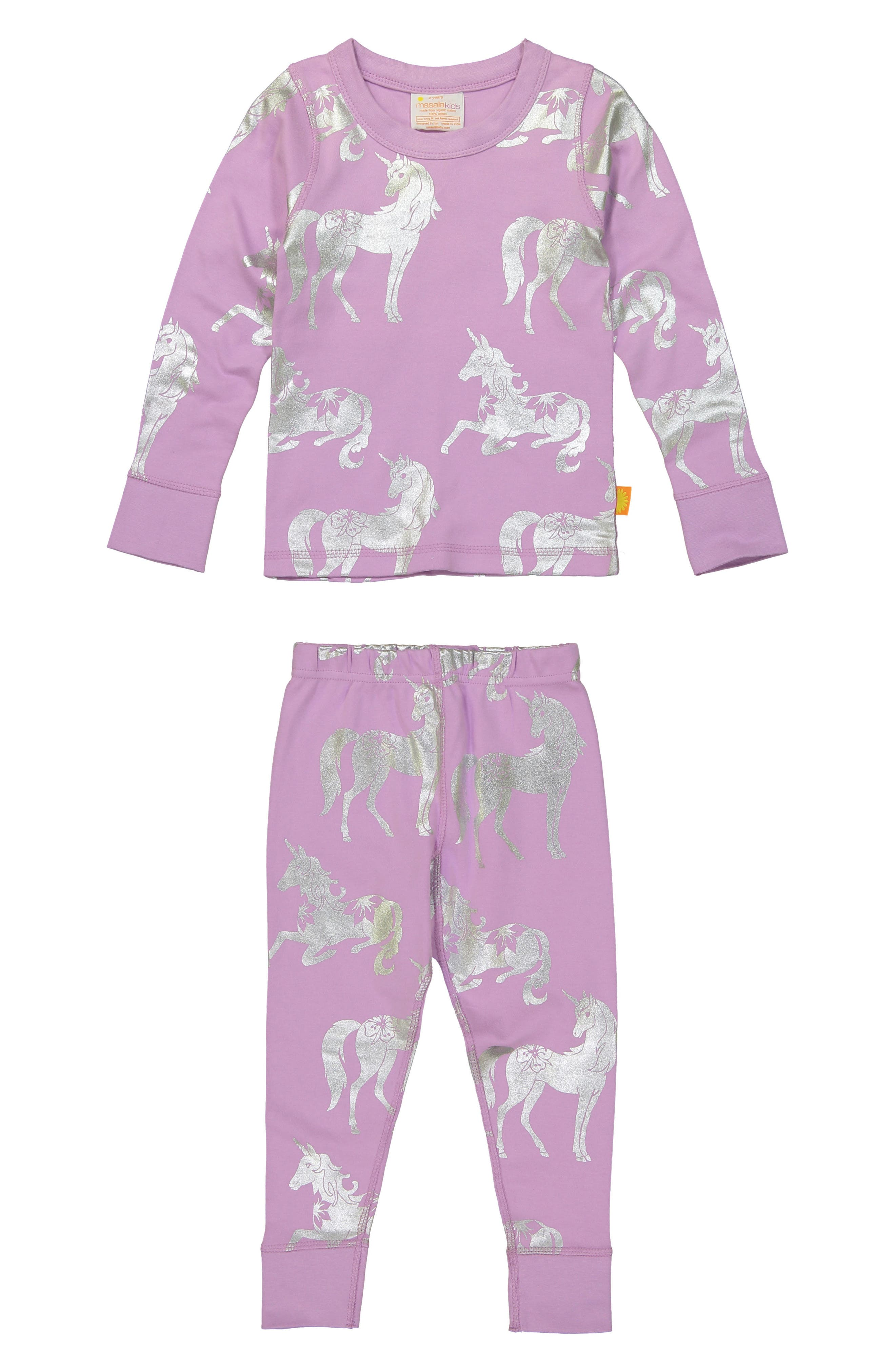 Unicorn Organic Cotton Fitted Two-Piece Pajamas,                             Main thumbnail 1, color,                             Lavender