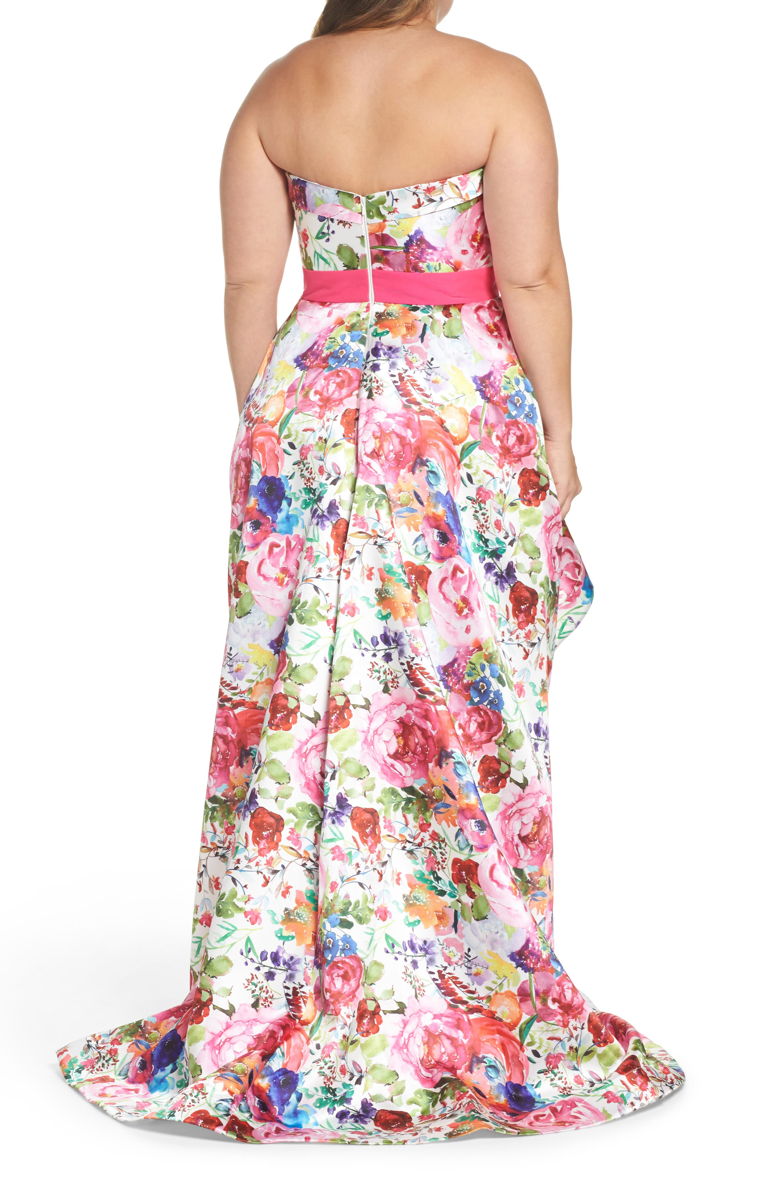 Floral Strapless Sweetheart High/Low Gown,                             Alternate thumbnail 2, color,                             Ivory Multi