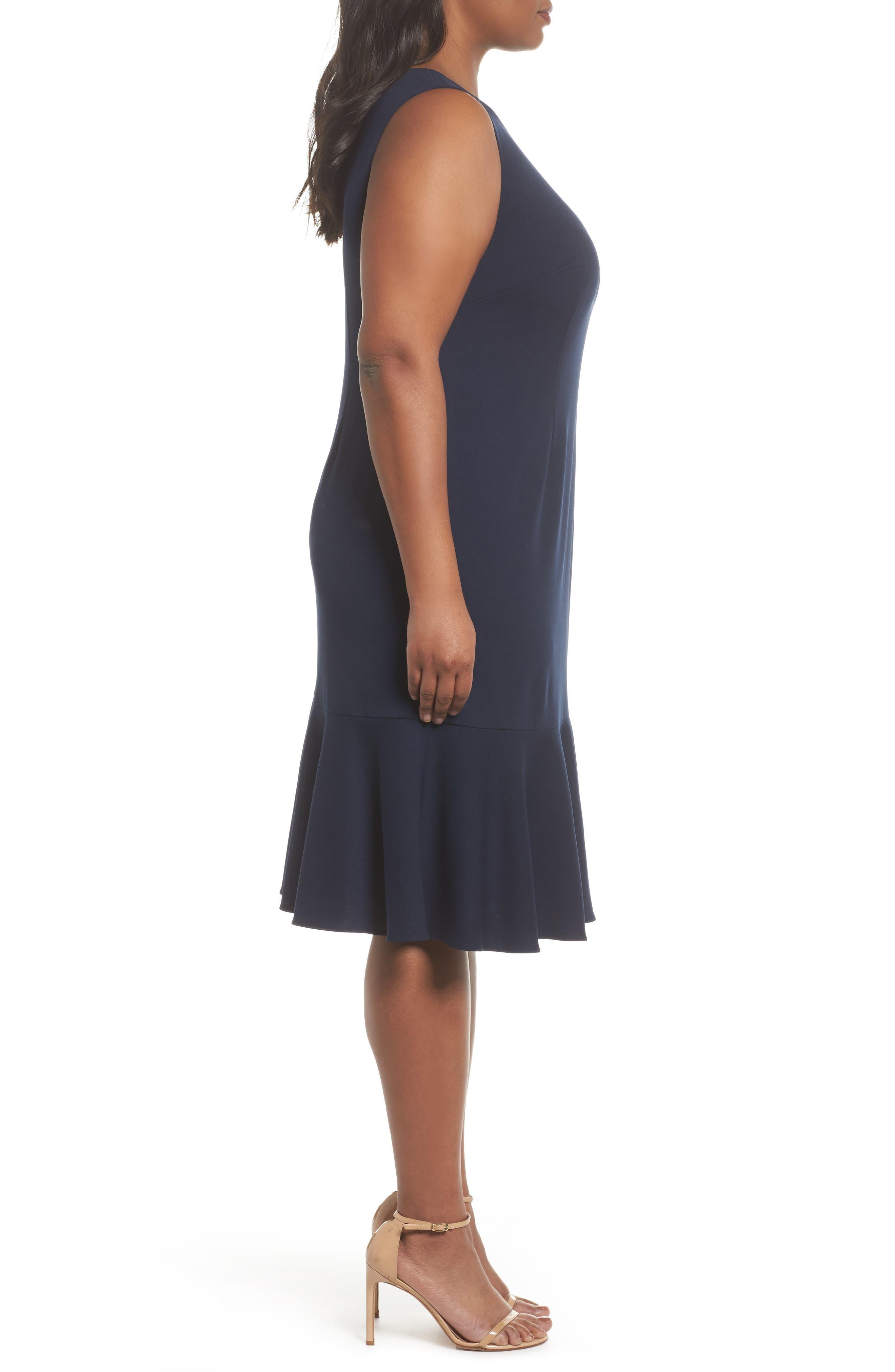 Crepe Flounce Dress,                             Alternate thumbnail 3, color,                             Blue Moon