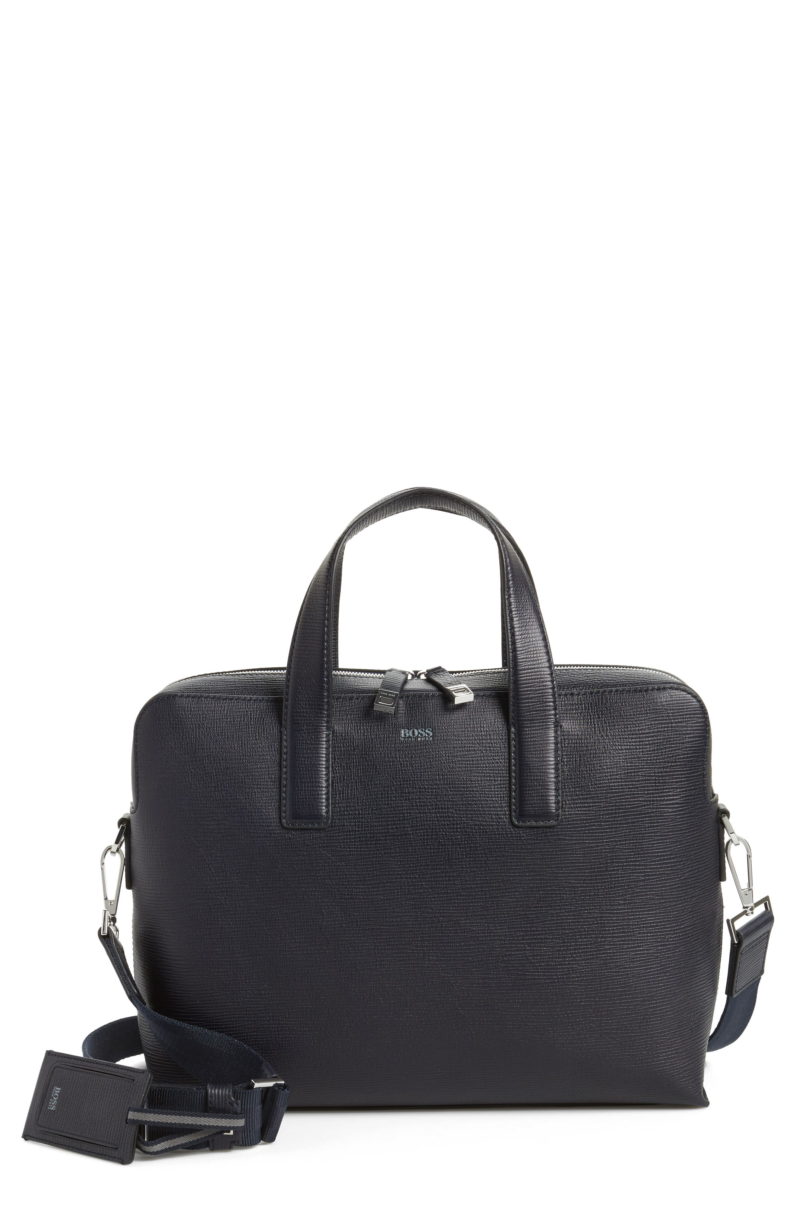 BOSS Timeless Leather Document Briefcase
