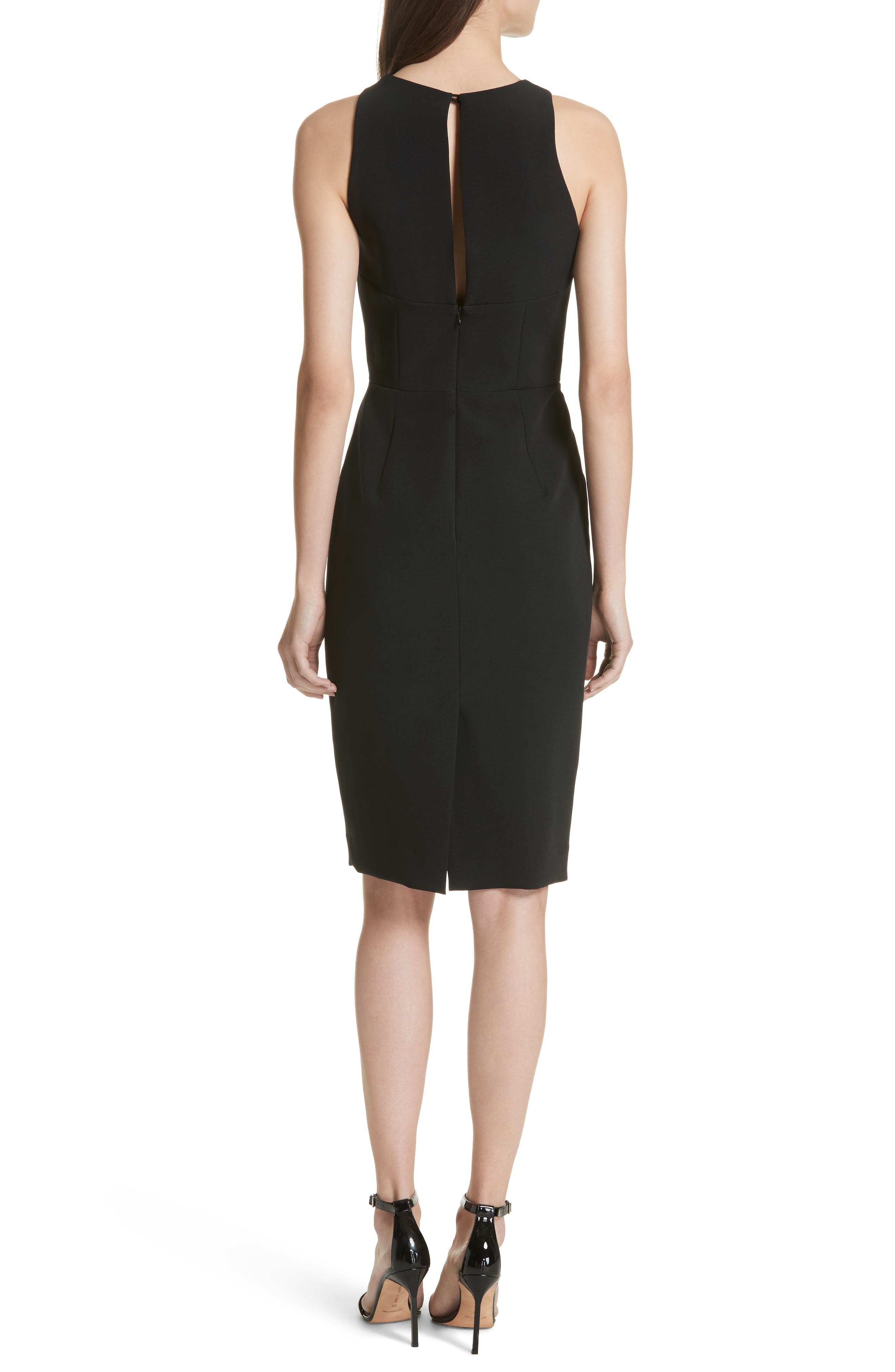 Luna Cutout Detail Crepe Sheath Dress,                             Alternate thumbnail 2, color,                             Black