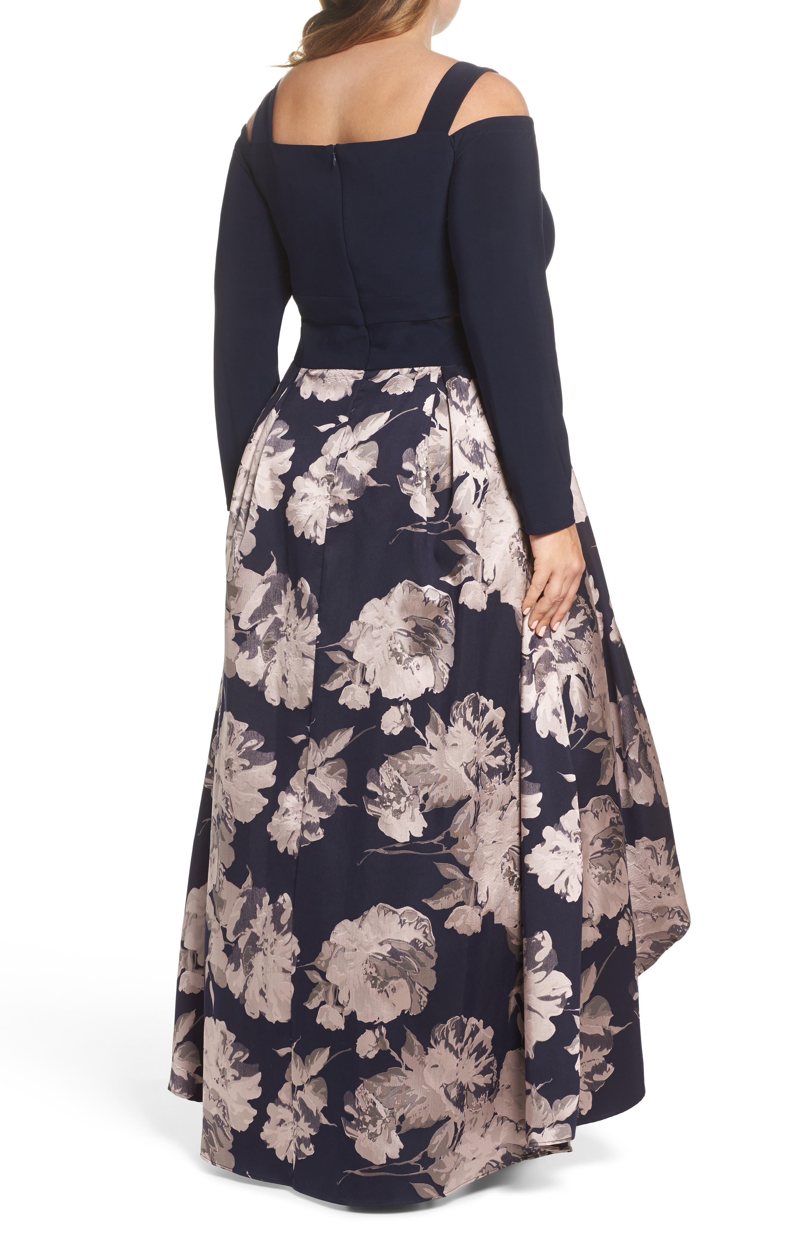 Alternate Image 2  - Xscape Cold Shoulder Brocade High/Low Dress (Plus Size)