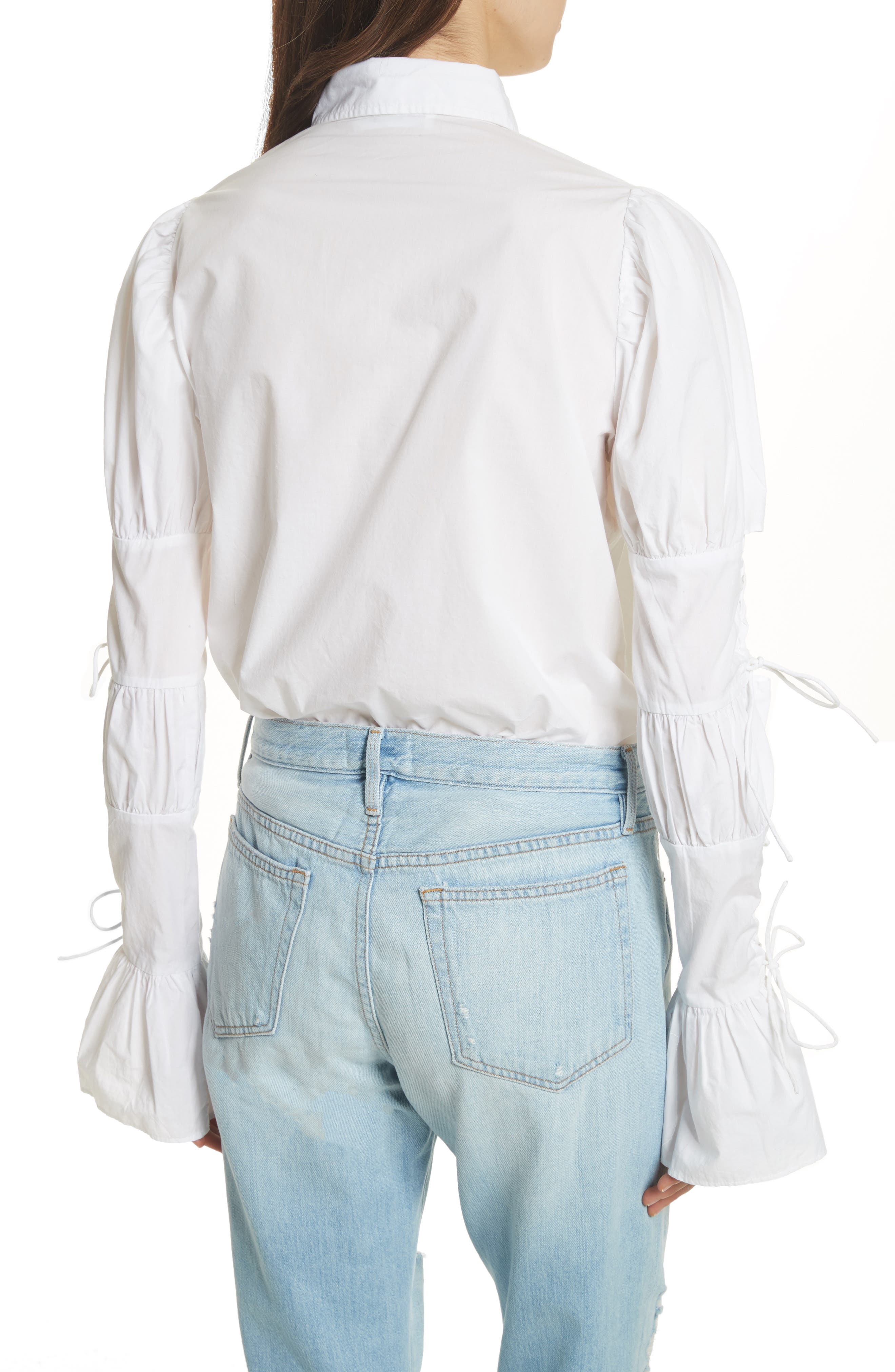 Lace-Up Sleeve Cotton Shirt,                             Alternate thumbnail 2, color,                             Blanc