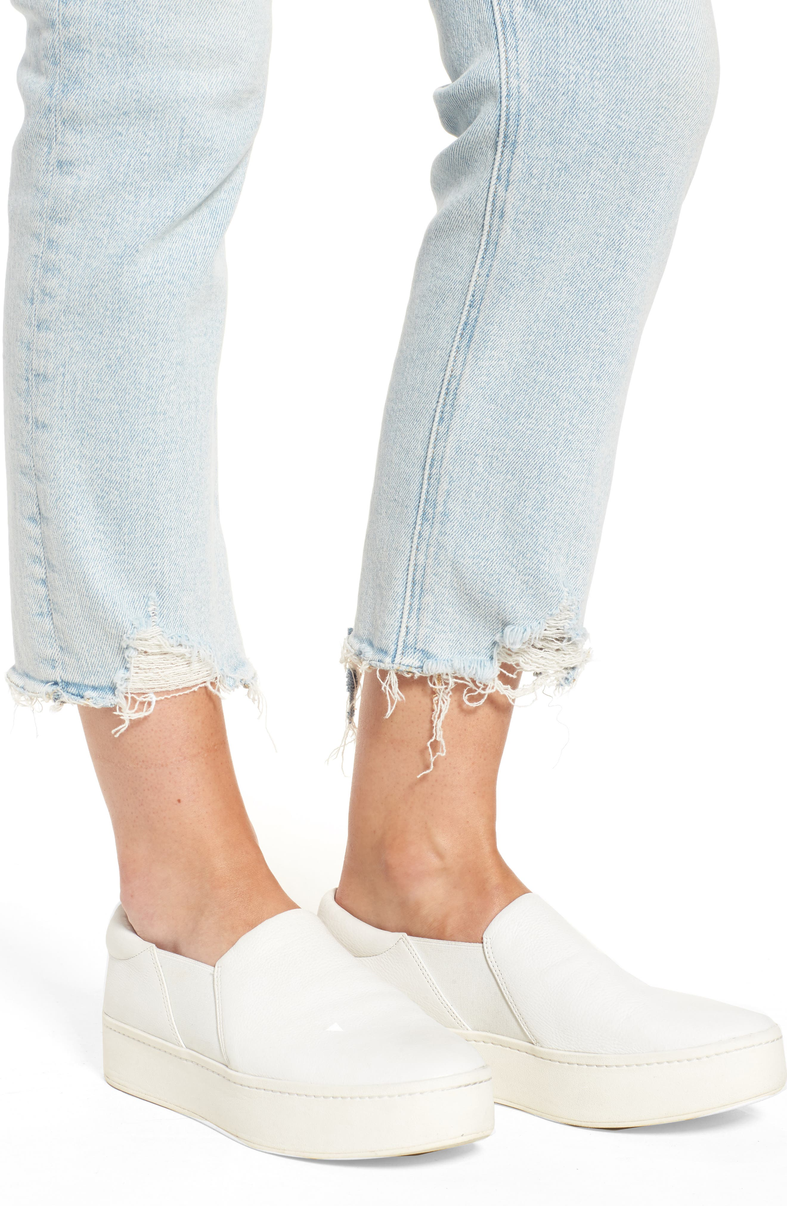 The Cropped Straight Leg Jeans,                             Alternate thumbnail 7, color,                             Cascade W/ Punk Hem