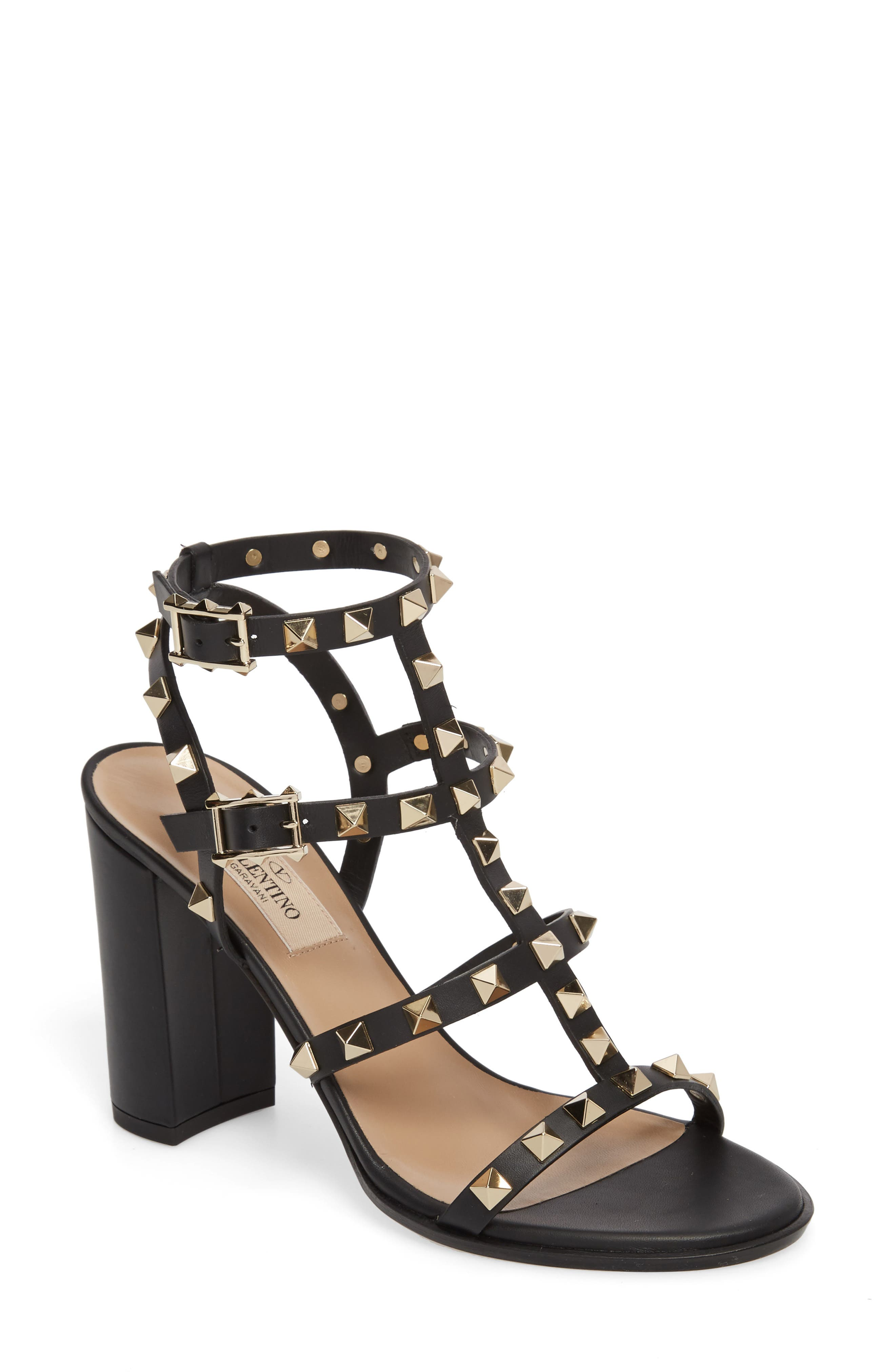 'Rockstud' T-Strap Sandal,                         Main,                         color, Nero