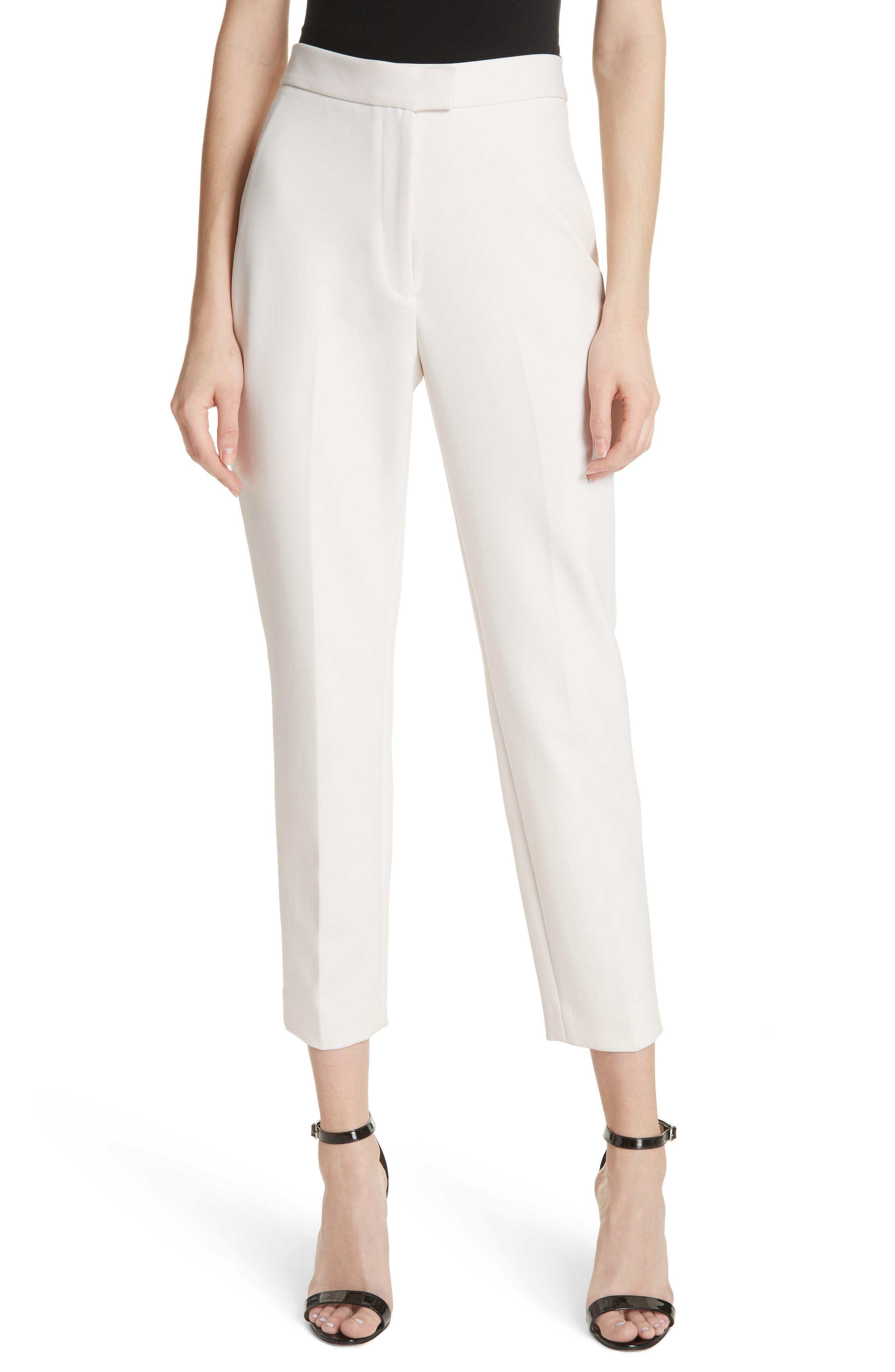 High Waist Cigarette Pants,                         Main,                         color, Cream