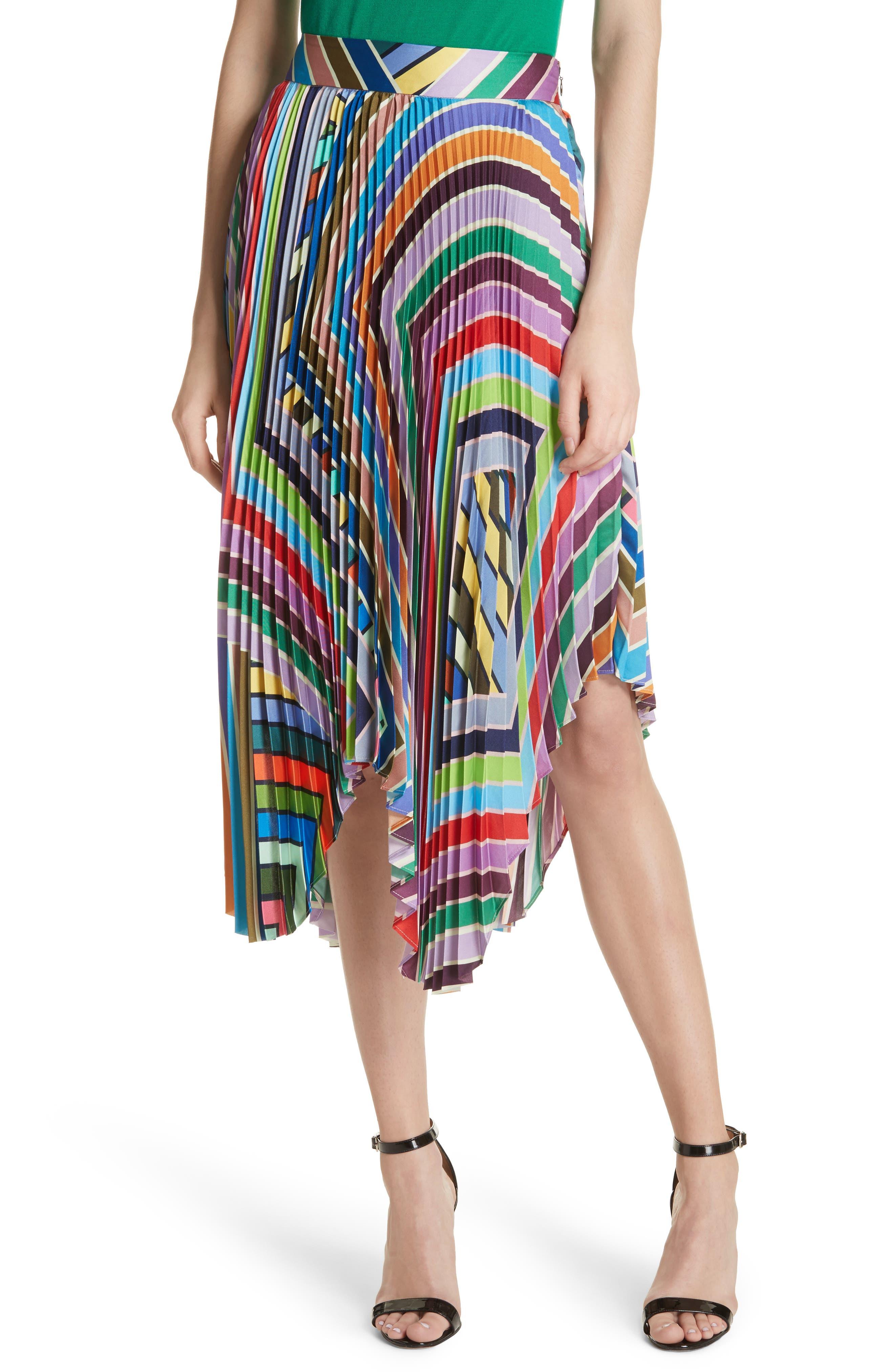 Stripe Pleated Handkerchief Skirt,                         Main,                         color, Multi