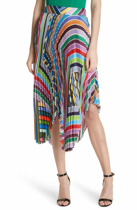 Milly Stripe Pleated Handkerchief Skirt