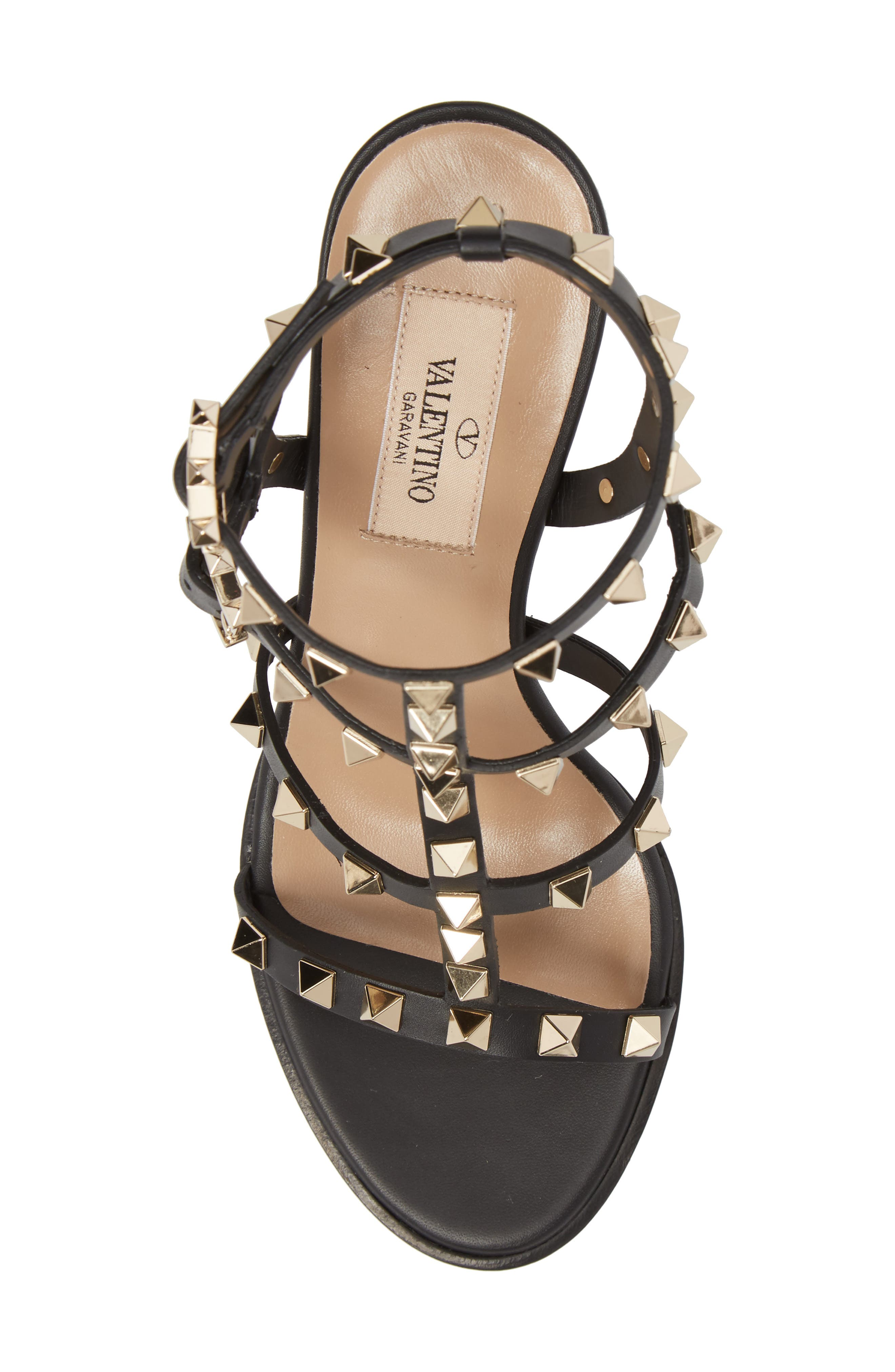 'Rockstud' T-Strap Sandal,                             Alternate thumbnail 5, color,                             Nero