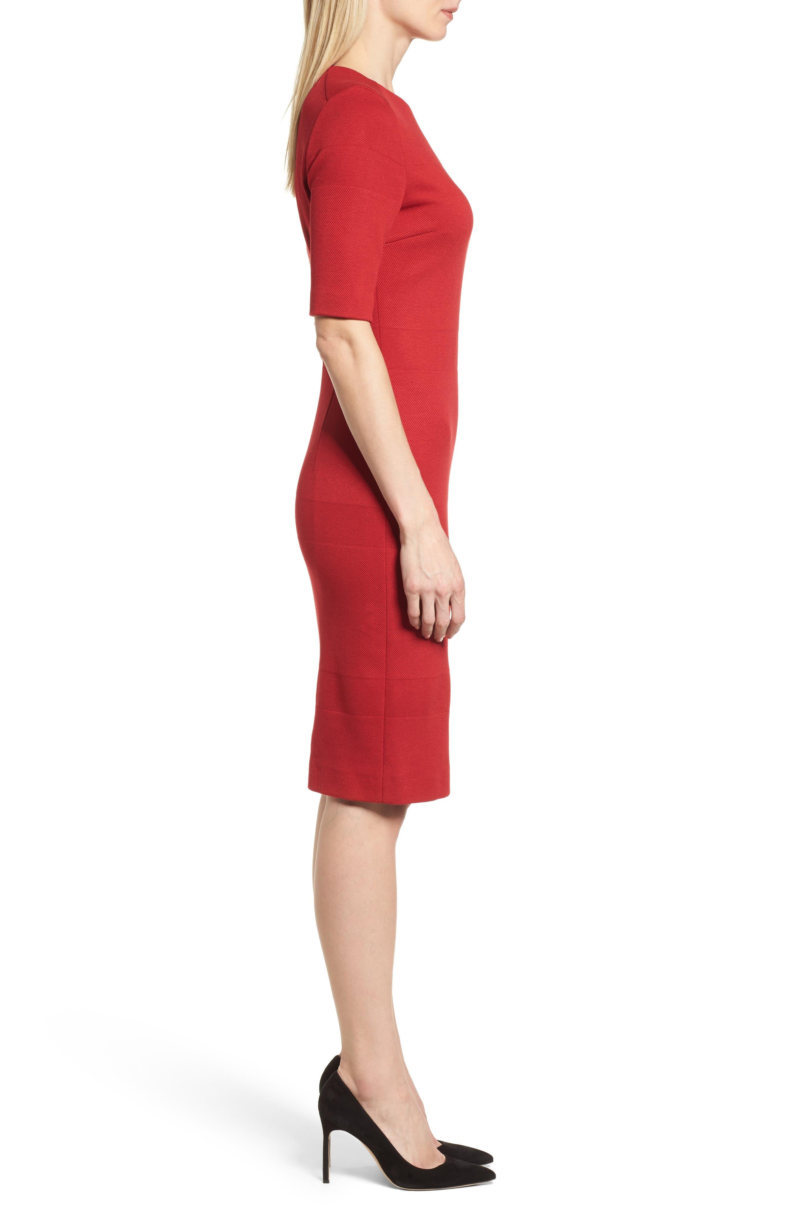 Hibela Tonal Stripe Dress,                             Alternate thumbnail 3, color,                             Crimson Red