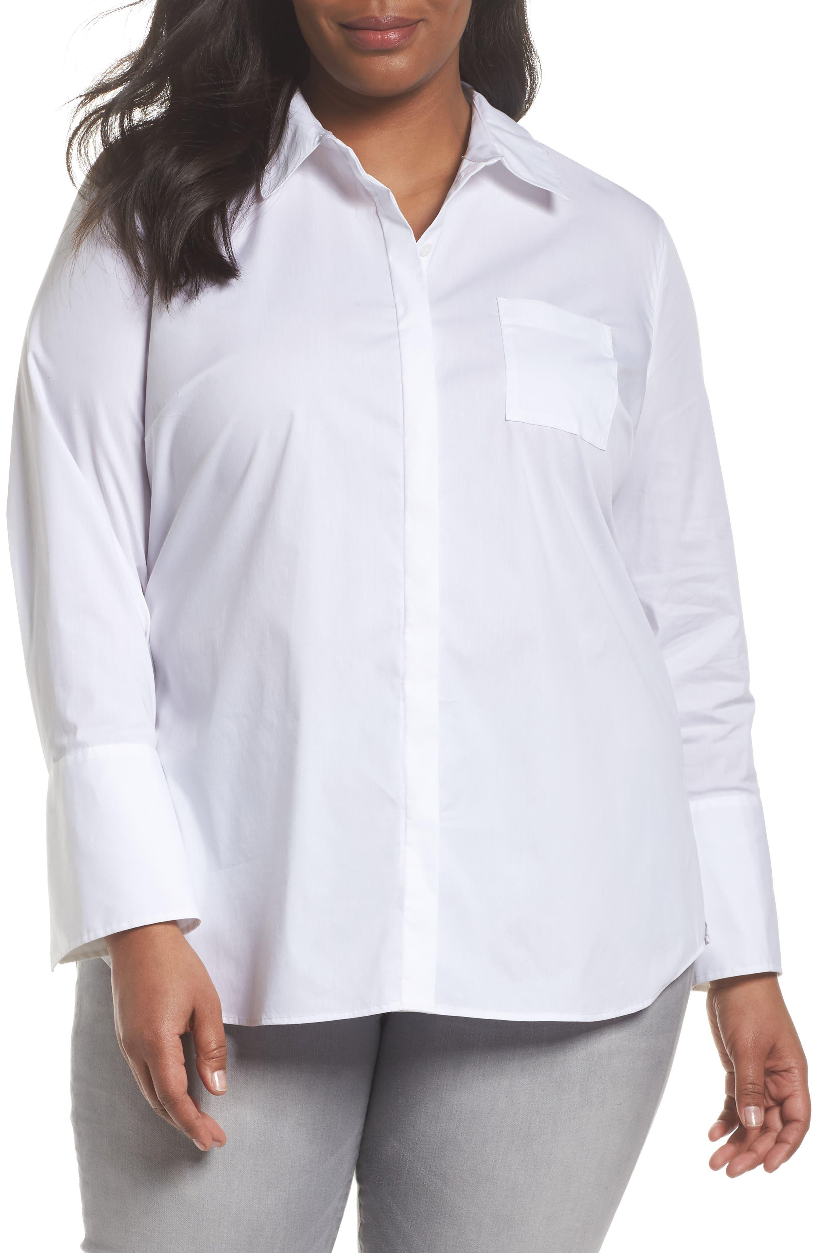 Tunic Button Down Shirt,                             Main thumbnail 1, color,                             White