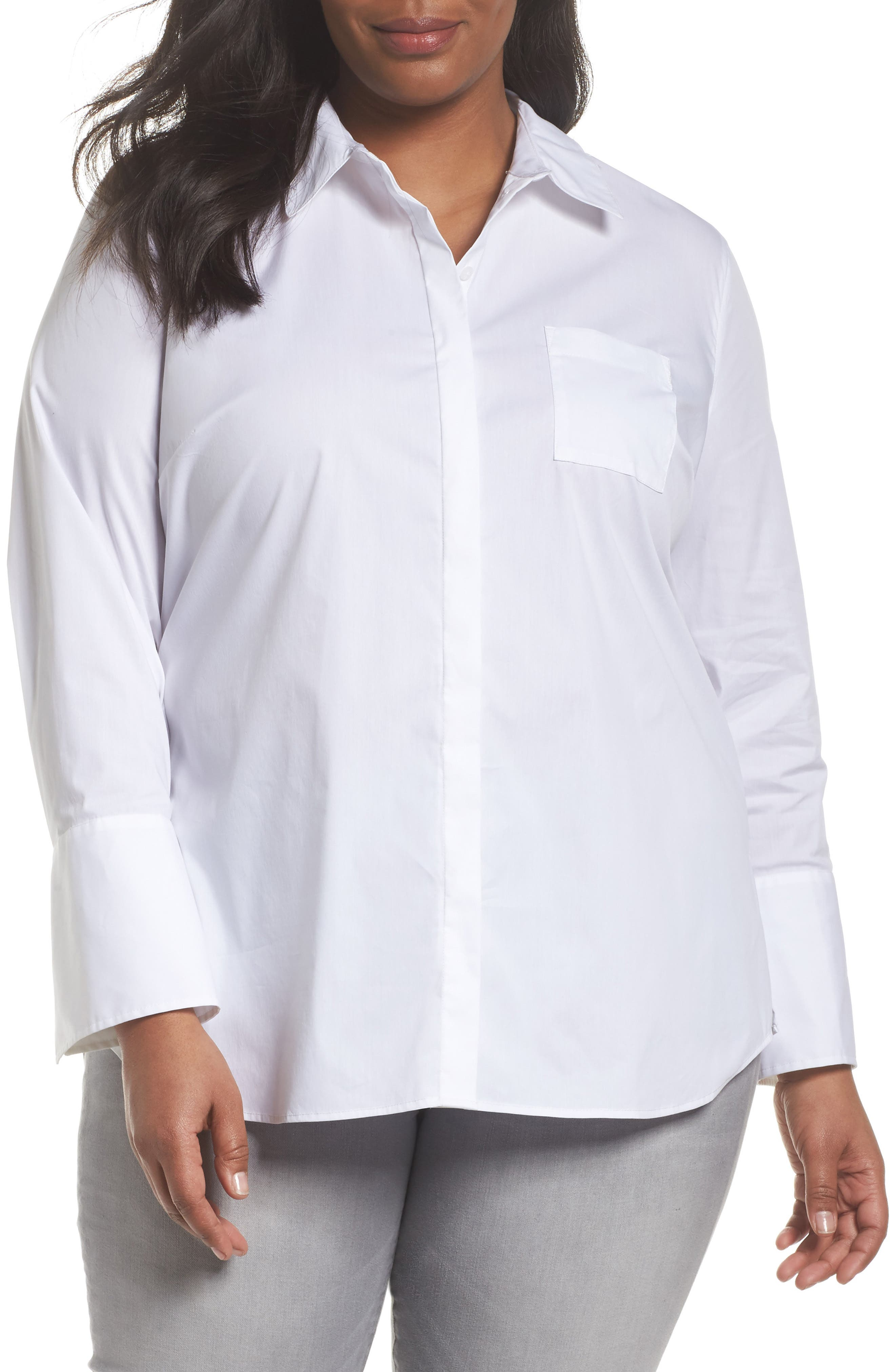 Tunic Button Down Shirt,                         Main,                         color, White