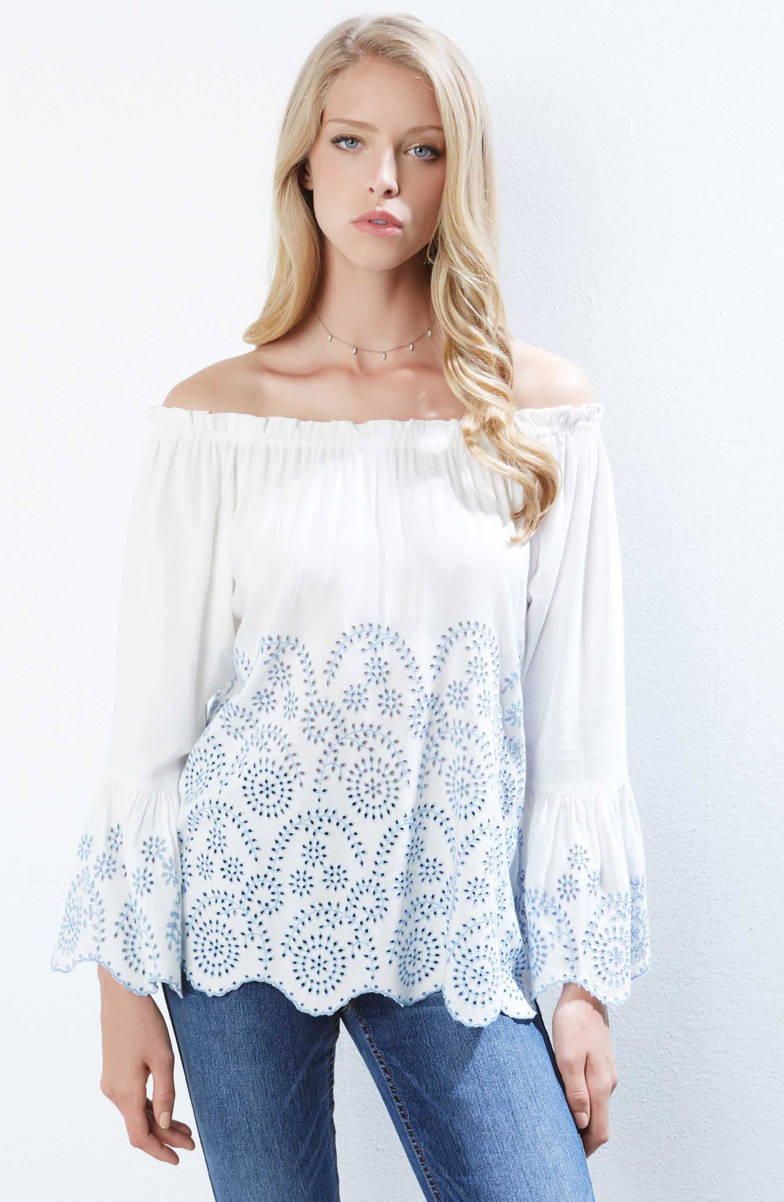 Convertible Off the Shoulder Eyelet Top,                             Alternate thumbnail 2, color,                             Off White