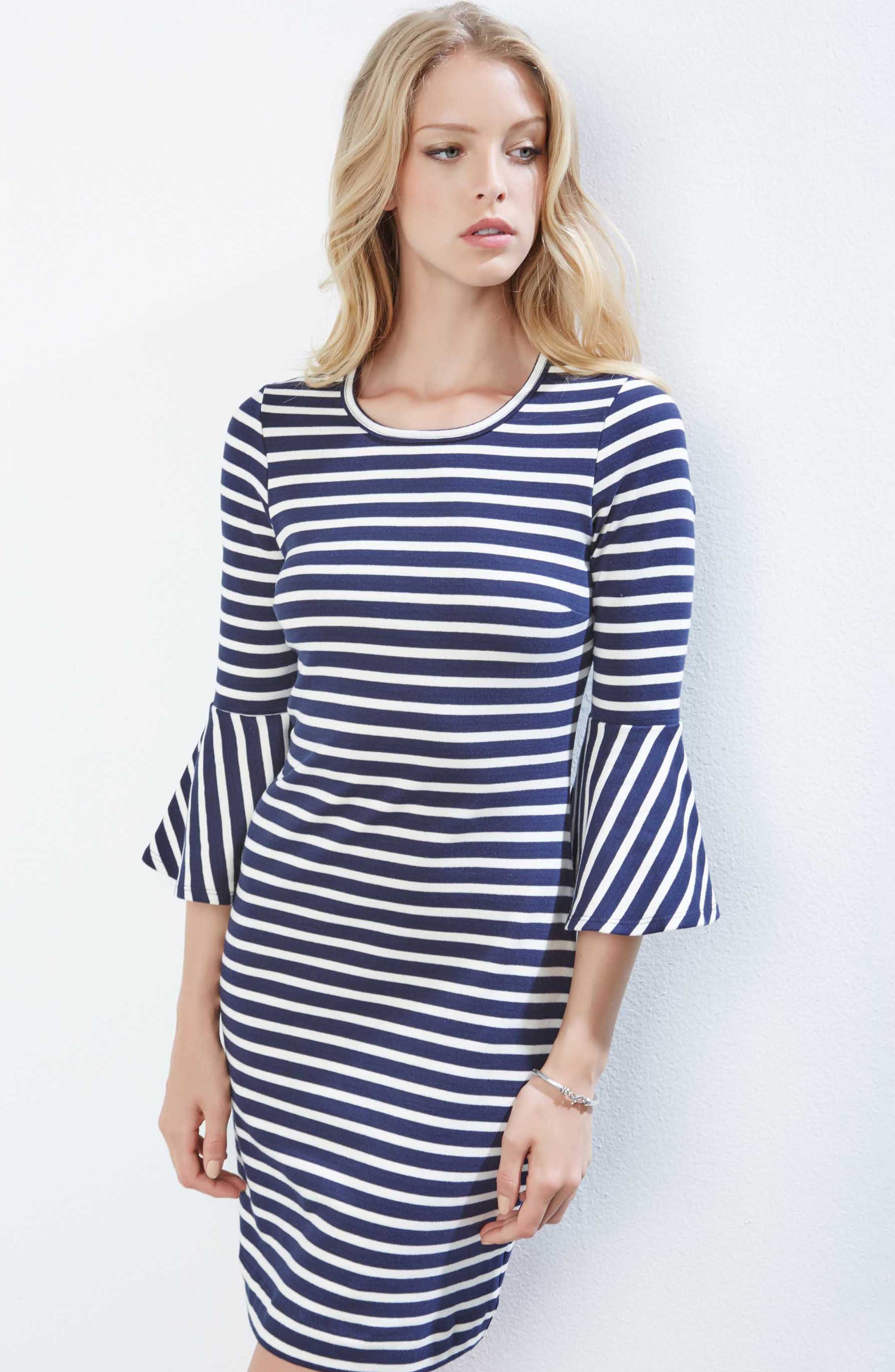 Flare Sleeve Stripe Dress,                             Alternate thumbnail 2, color,                             Striped