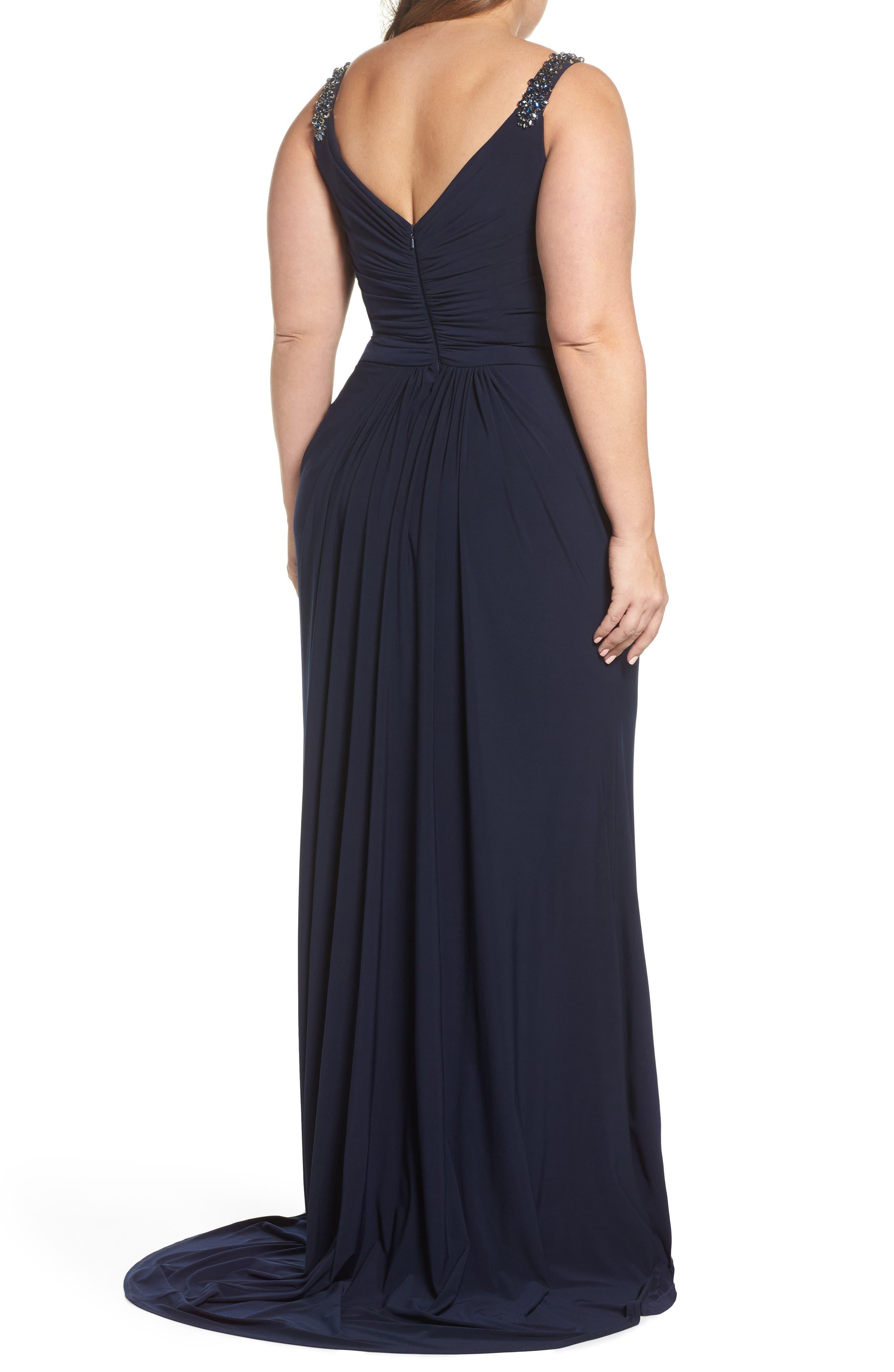 Embellished Shoulder Jersey Gown,                             Alternate thumbnail 2, color,                             Navy
