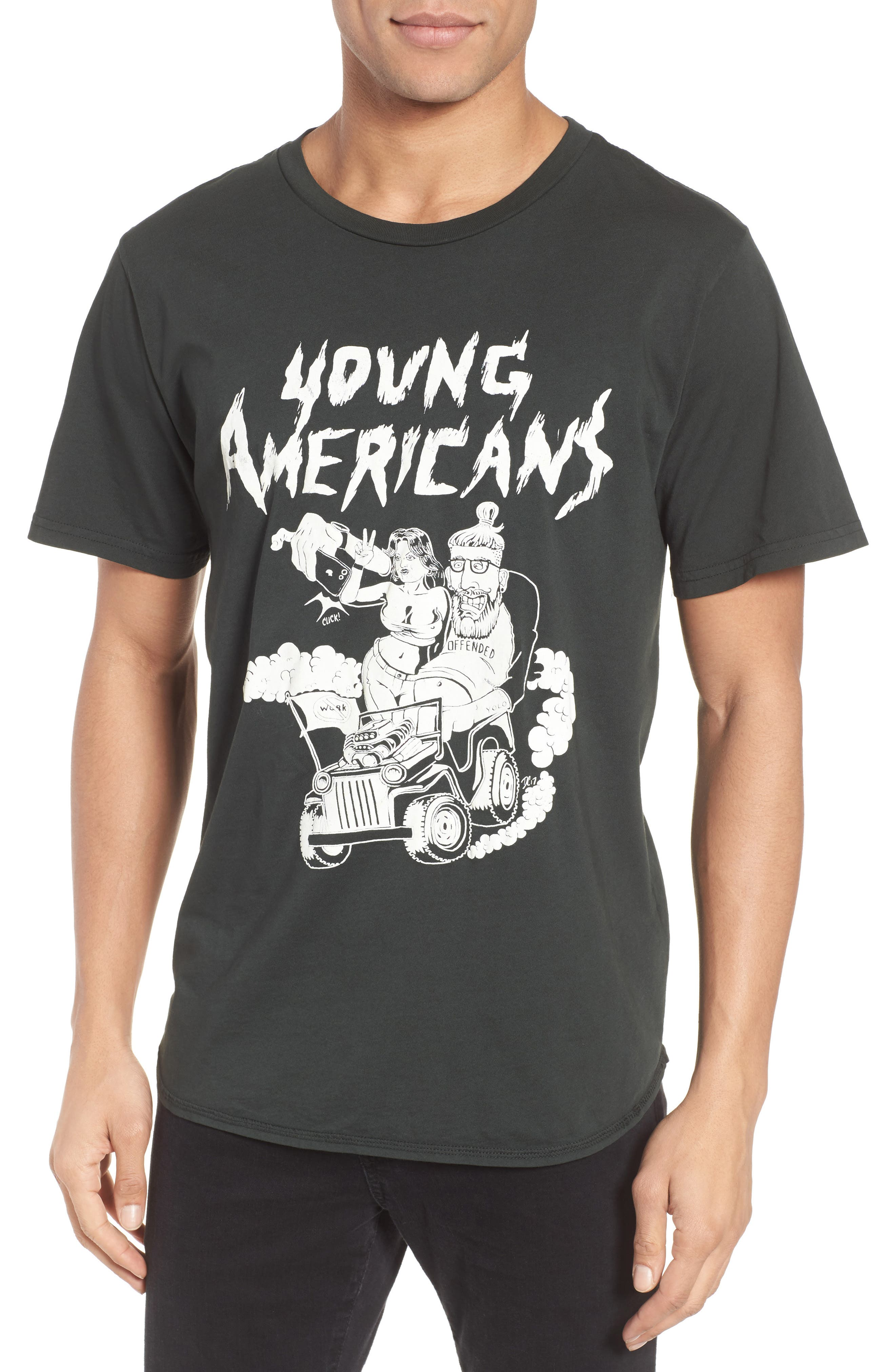 Young Americans Graphic T-Shirt,                         Main,                         color, Dusty Black