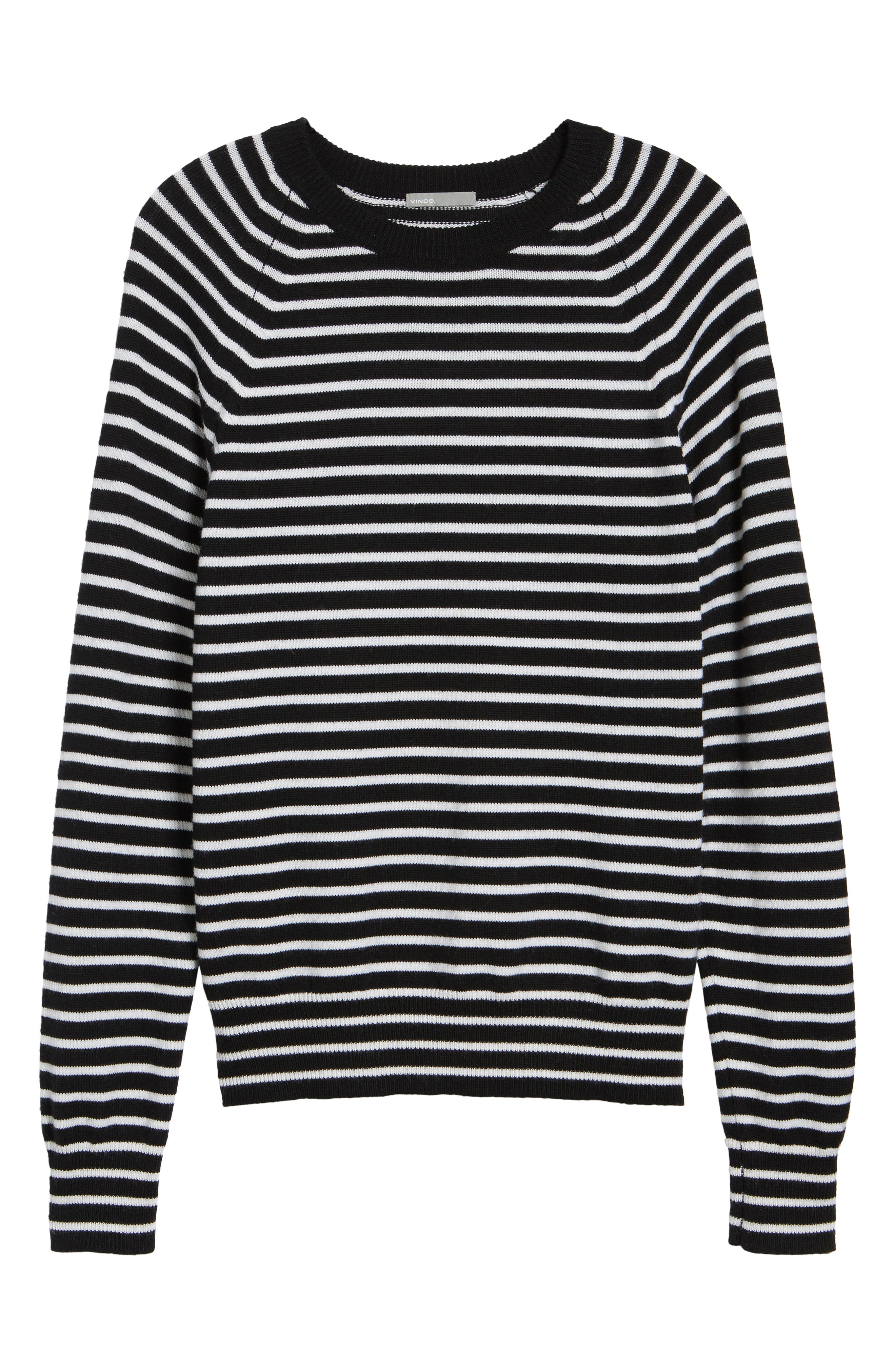 Regular Fit Striped Wool Sweater,                             Alternate thumbnail 6, color,                             Black/ Stormy White