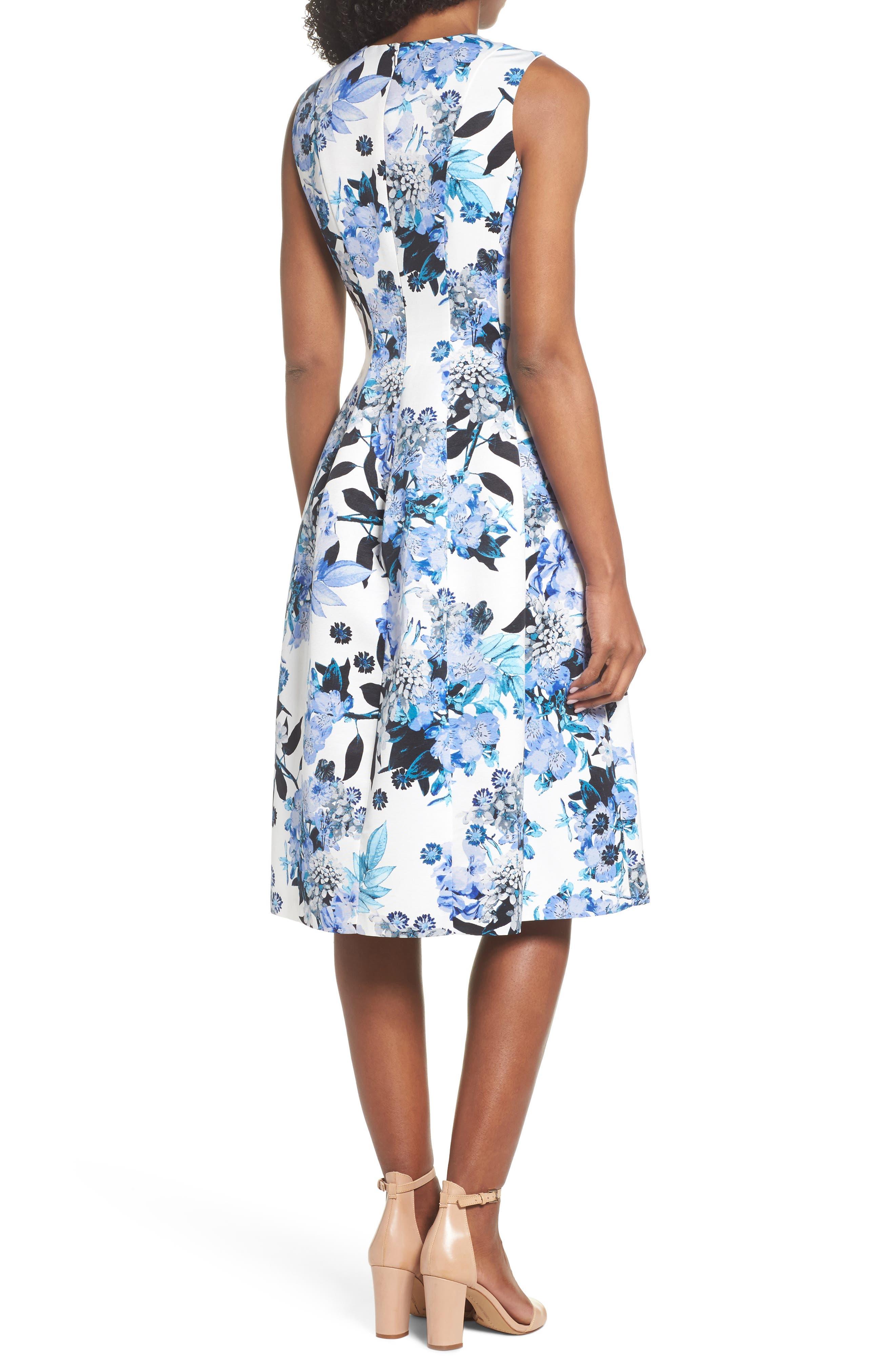 Floral Fit & Flare Dress,                             Alternate thumbnail 2, color,                             Blue
