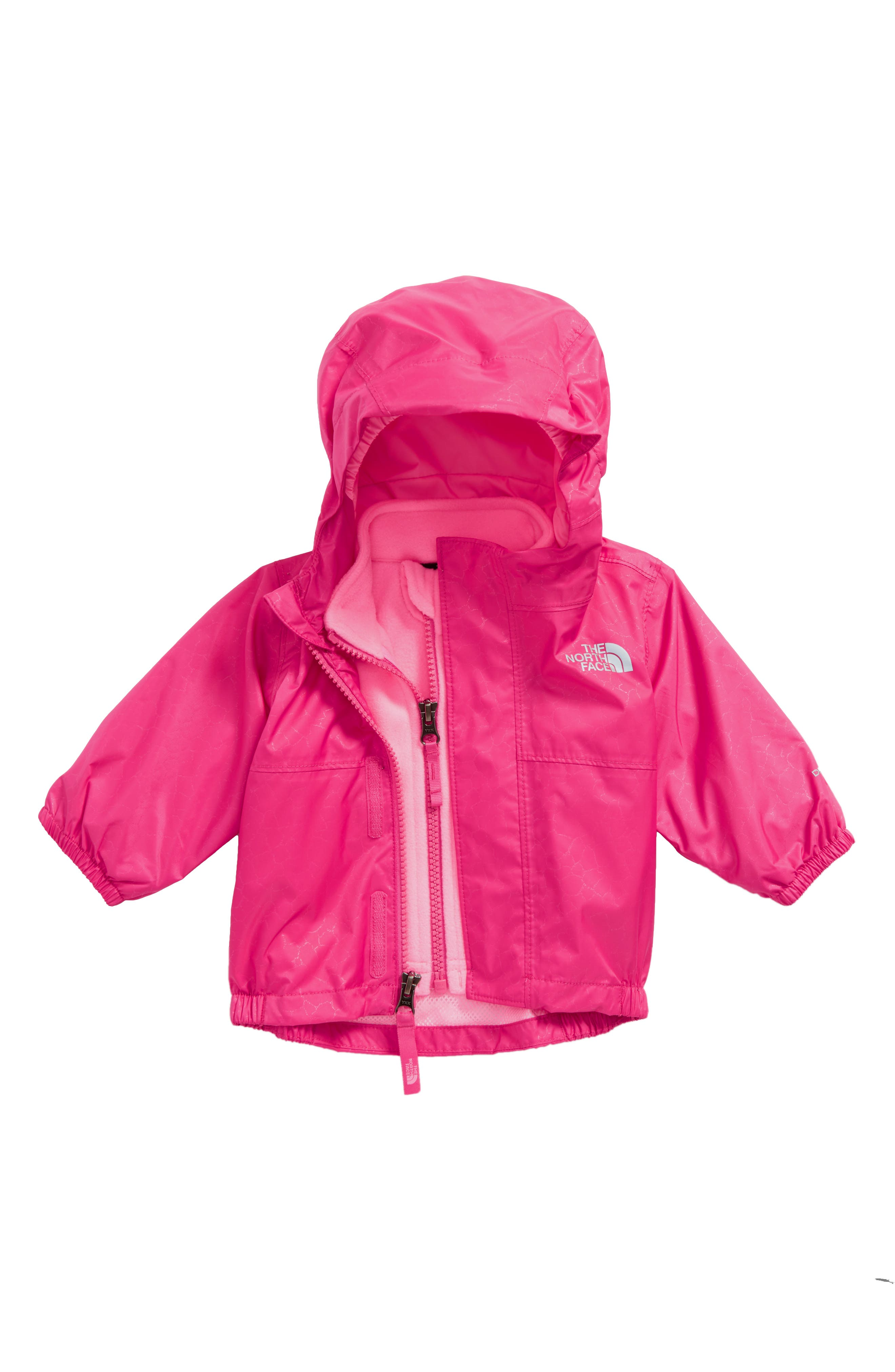 Stormy Rain TriClimate<sup>®</sup> Waterproof & Windproof 3-in-1 Jacket,                         Main,                         color, Petticoat Pink Crackle Emboss
