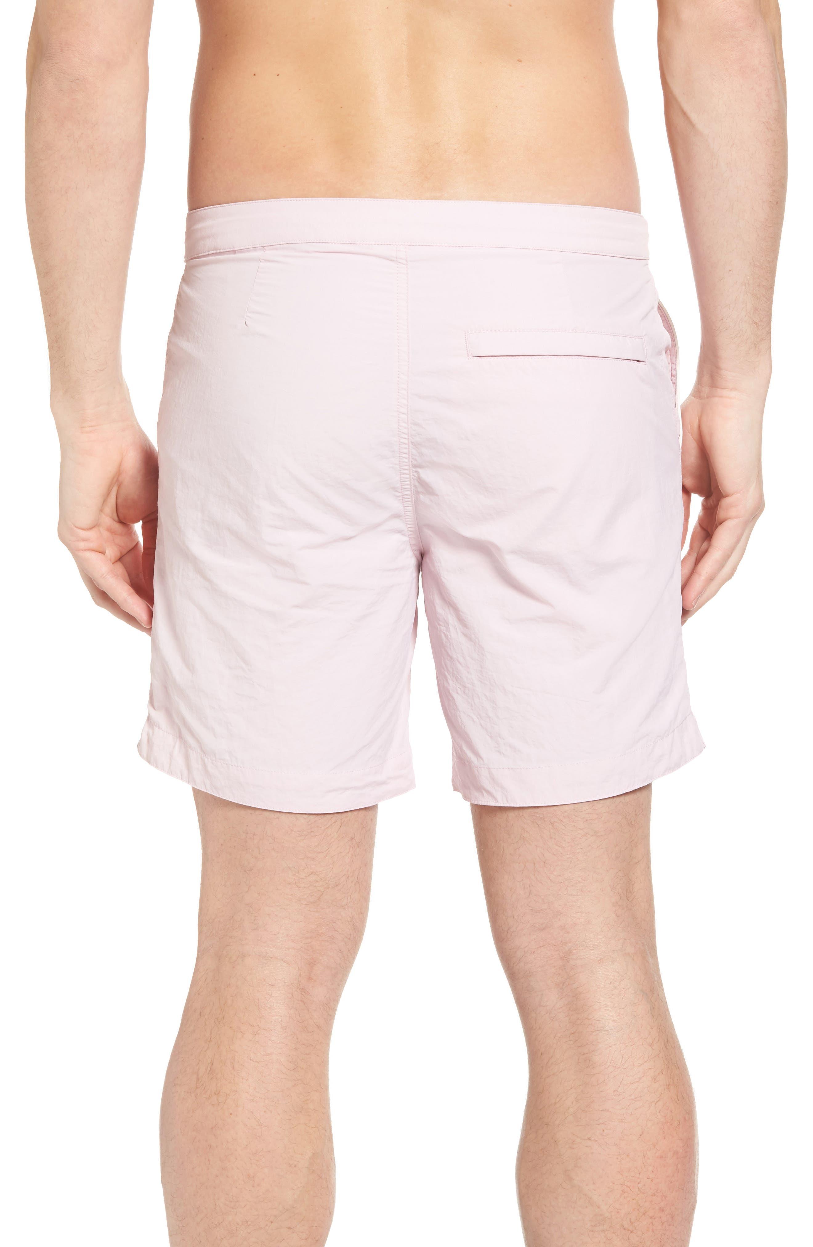 Rio Regular Fit Swim Trunks,                             Alternate thumbnail 2, color,                             Pastel Pink Solid