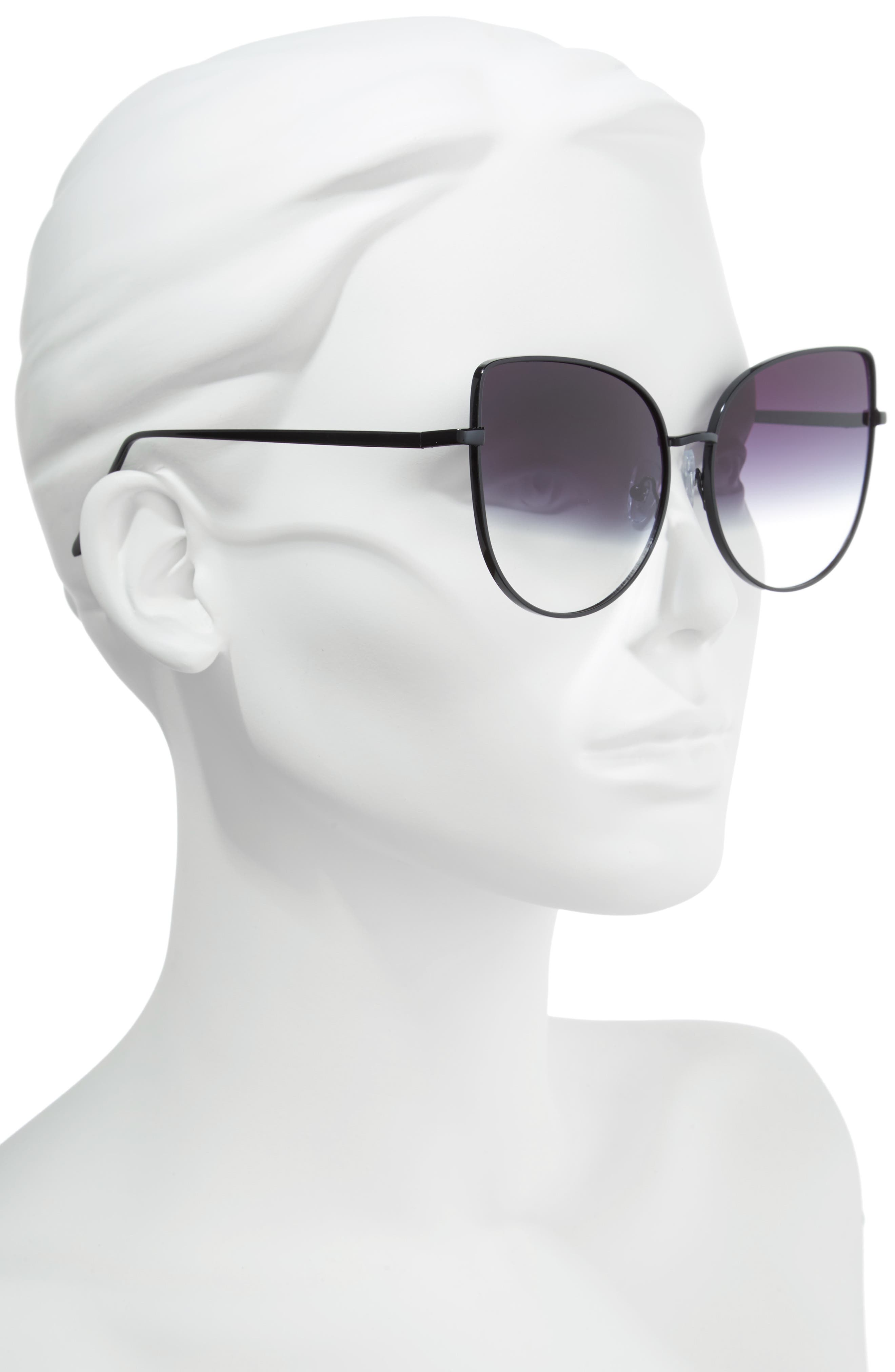 60mm Metal Cat Eye Sunglasses,                             Alternate thumbnail 2, color,                             Black/ Fade To Clear