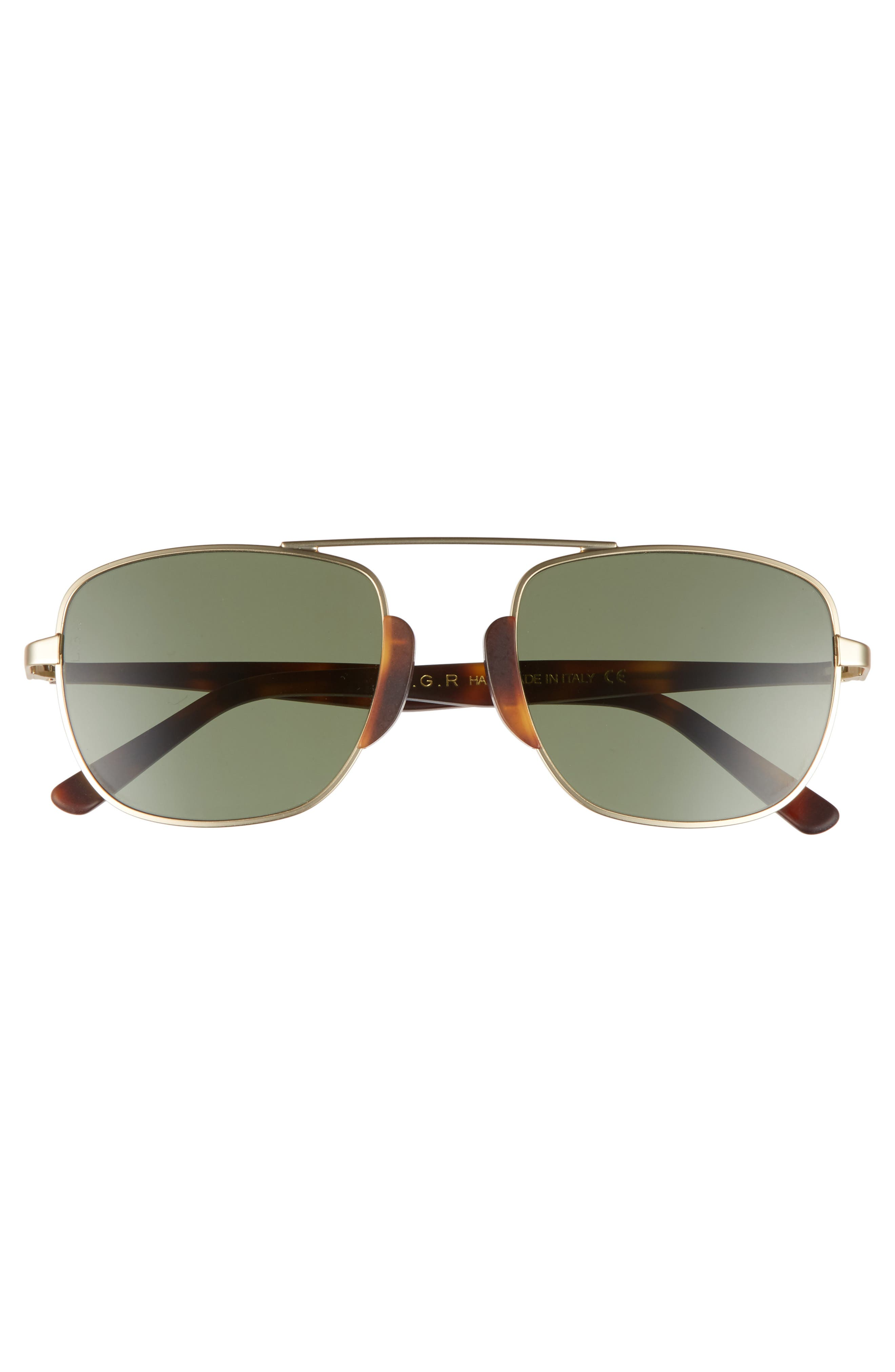 Negus 56mm Sunglasses,                             Alternate thumbnail 2, color,                             Gold Matte/ Brown/ Green